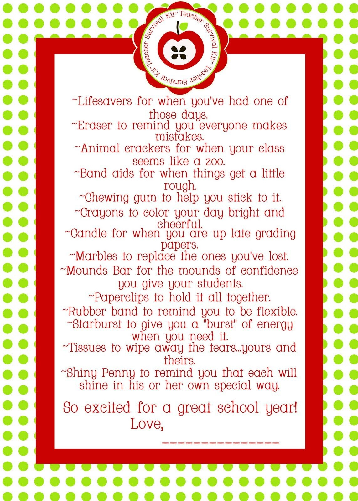 Teacher Survival Kit - For The Other Teachers In My Life Sissy - Teacher Survival Kit Free Printable