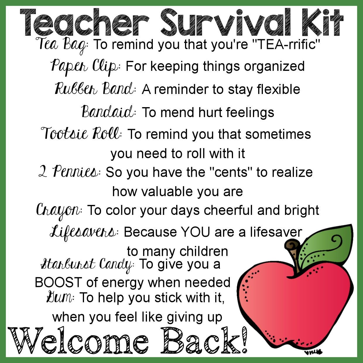 Teacher Survival Kit: How To Make & #free Printable Label - Teacher Survival Kit Free Printable