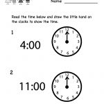 Telling Time Worksheet – Free Kindergarten Math Worksheet For Kids – Free Printable Time Worksheets For Kindergarten