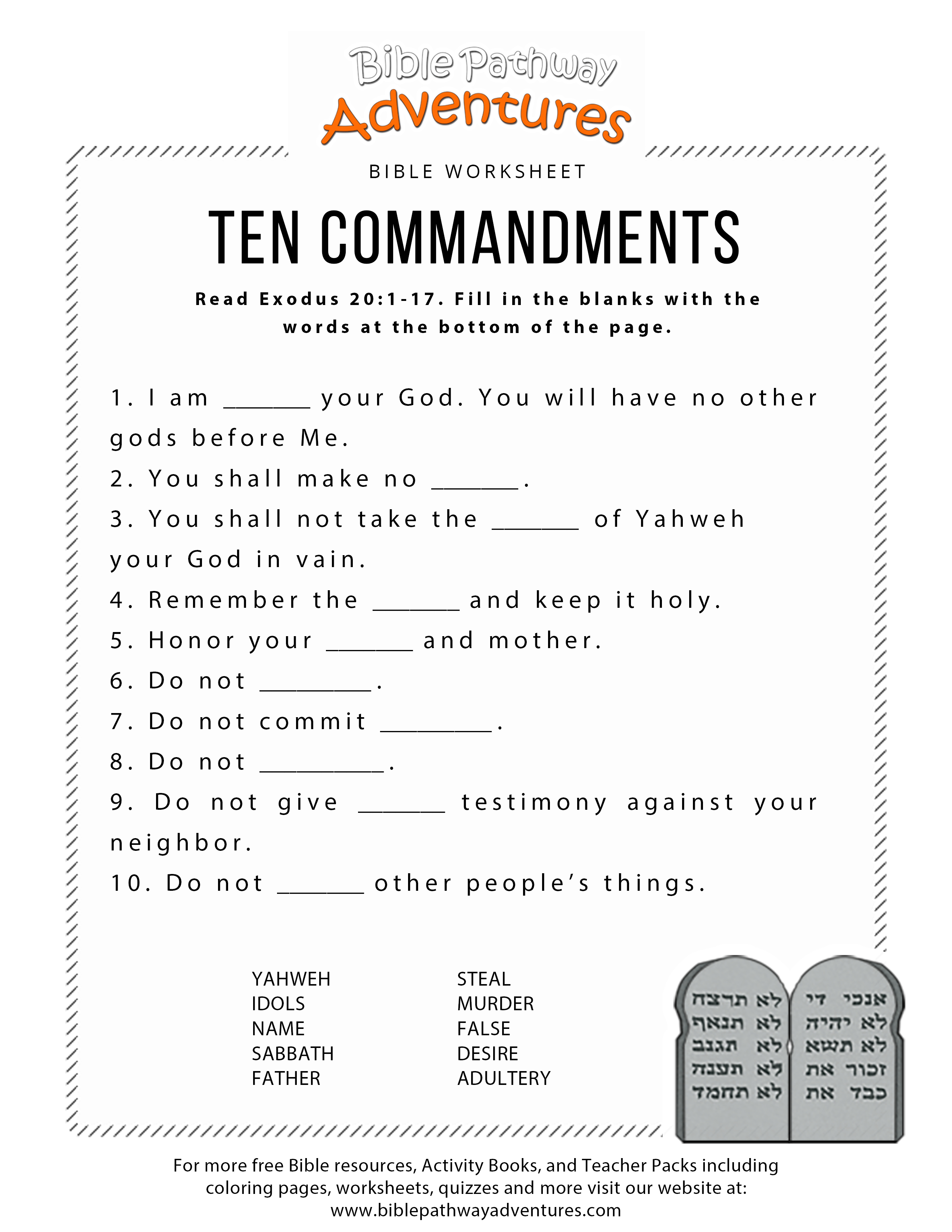 Ten Commandments Worksheet For Kids | Worksheets For Psr | Bible - Free Printable Bible Games For Youth