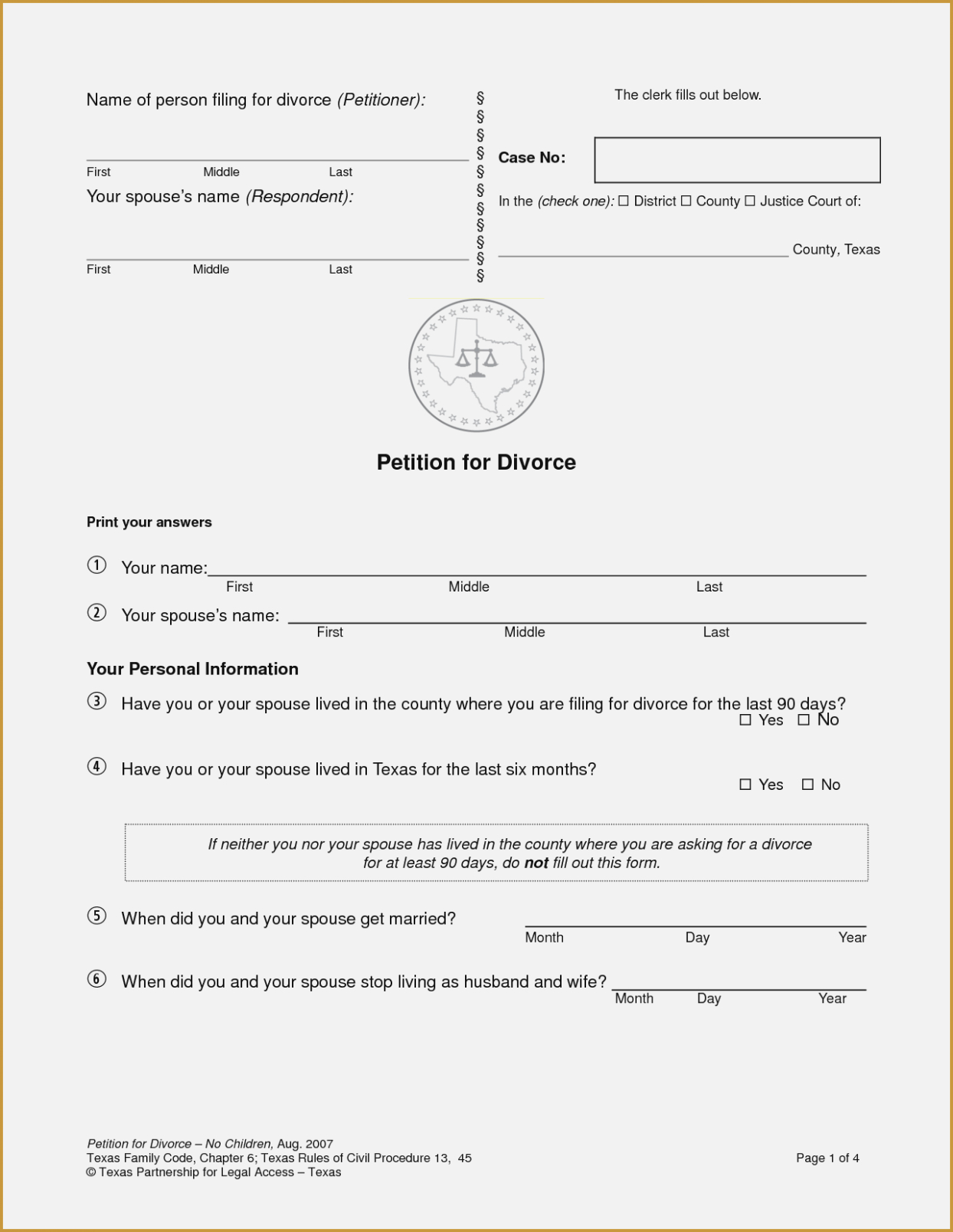 Texas Divorce Smartonline Papers Blank Forms P | Nayvii – Do It - Free Printable Divorce Papers For Illinois