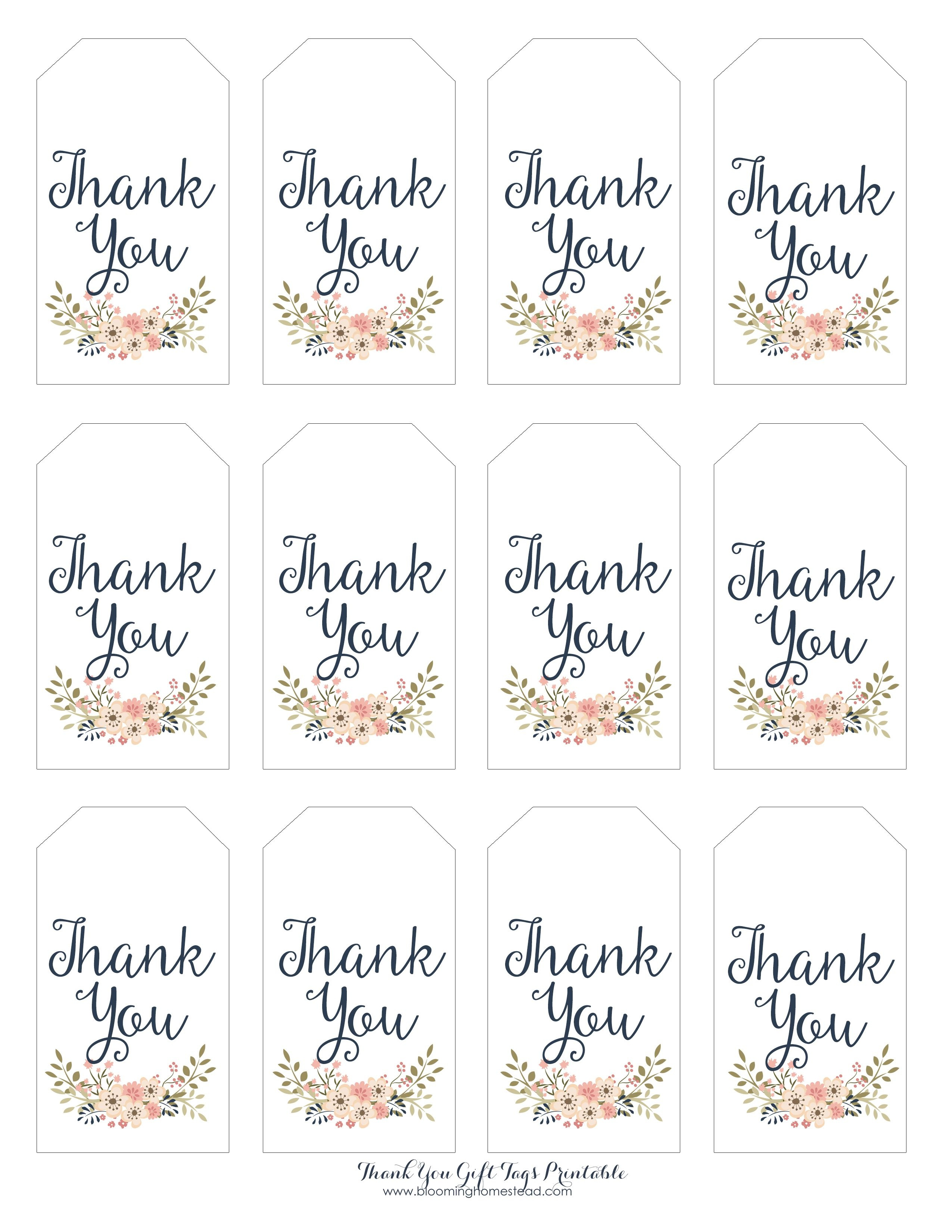 Thank You Gift Tags | Gift Ideas | Thank You Tag Printable - Free Printable Wedding Thank You Tags