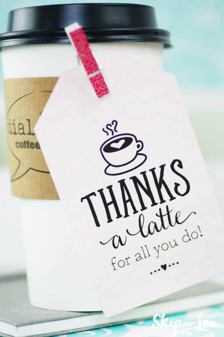 Thanks A Latte Free Printable Tag