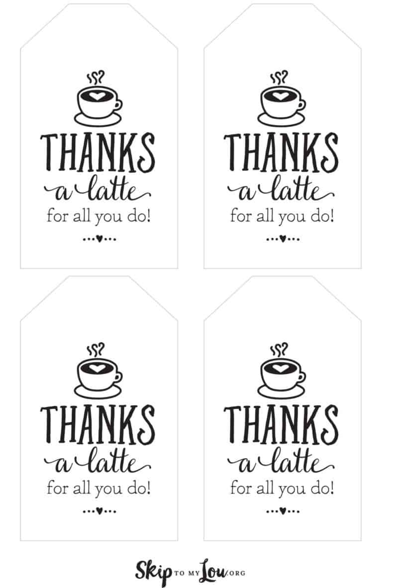 Thanks A Latte! Free Printable Gift Tags | Skip To My Lou - Thanks A Latte Free Printable Tag
