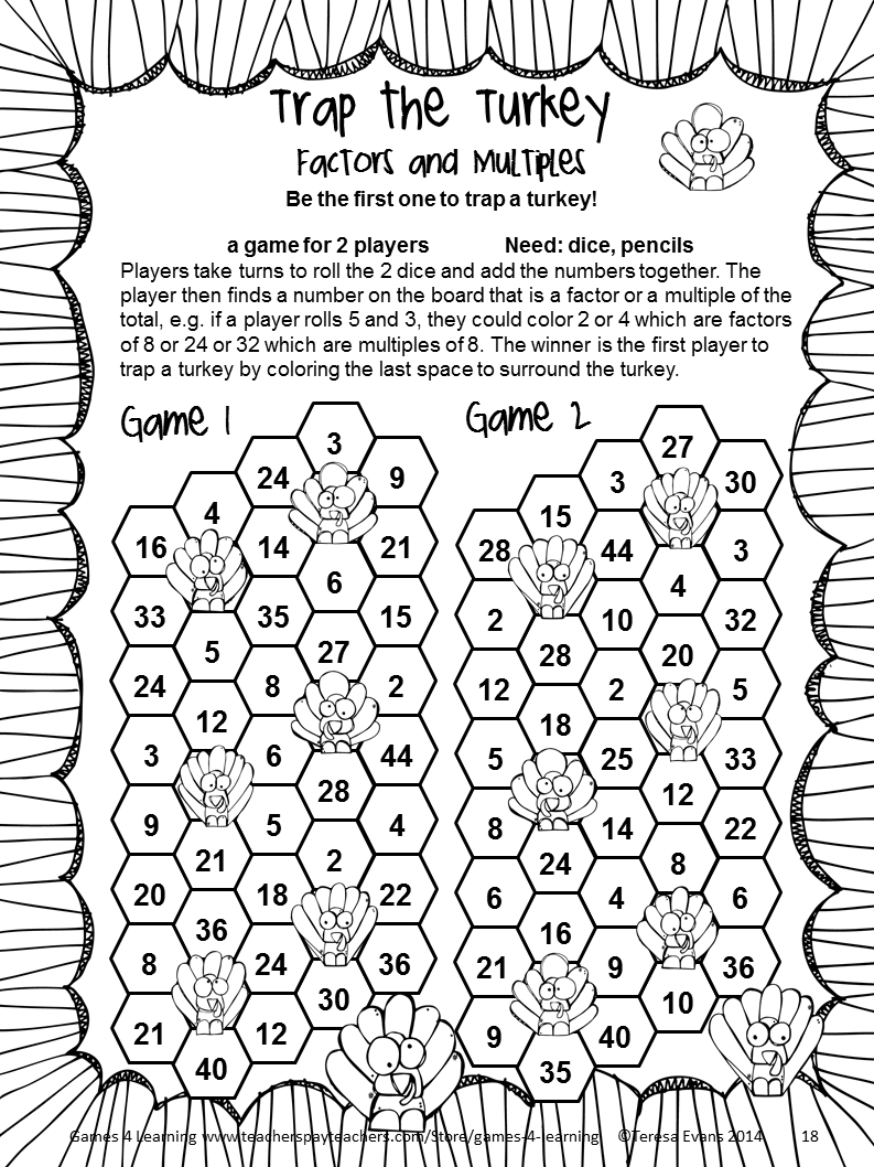 Thanksgiving Math Games Fourth Grade: Fun Thanksgiving Activities - Free Printable Thanksgiving Math Worksheets For 3Rd Grade