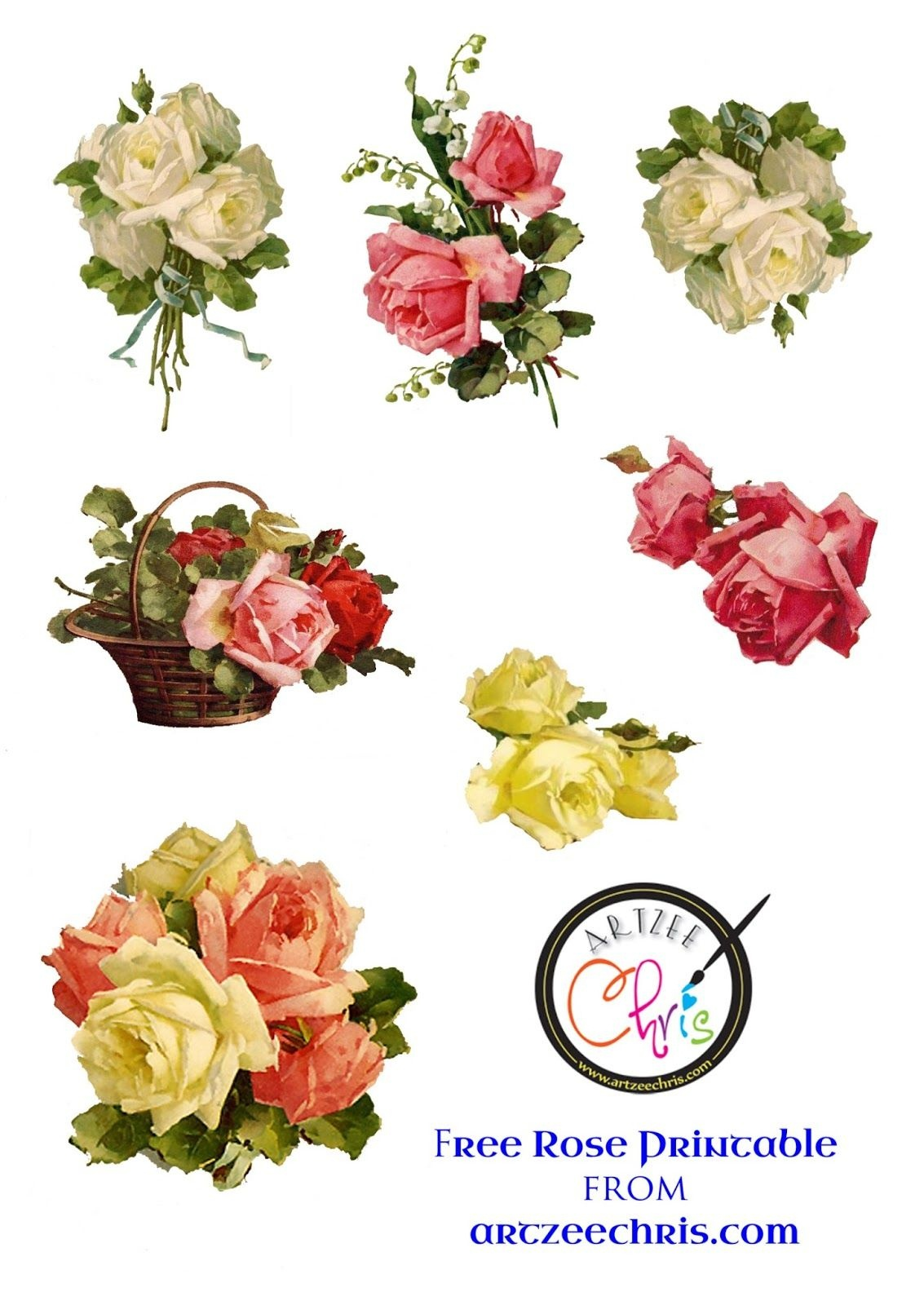 The Artzee Blog: Free Vintage Victorian Roses Printable   Free - Free Printable Decoupage Flowers