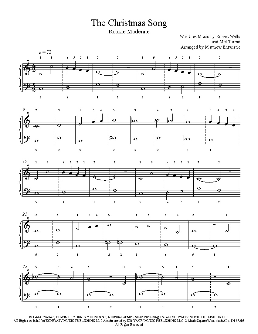 The Christmas Songnat King Cole Piano Sheet Music | Rookie Level - Christmas Songs Piano Sheet Music Free Printable