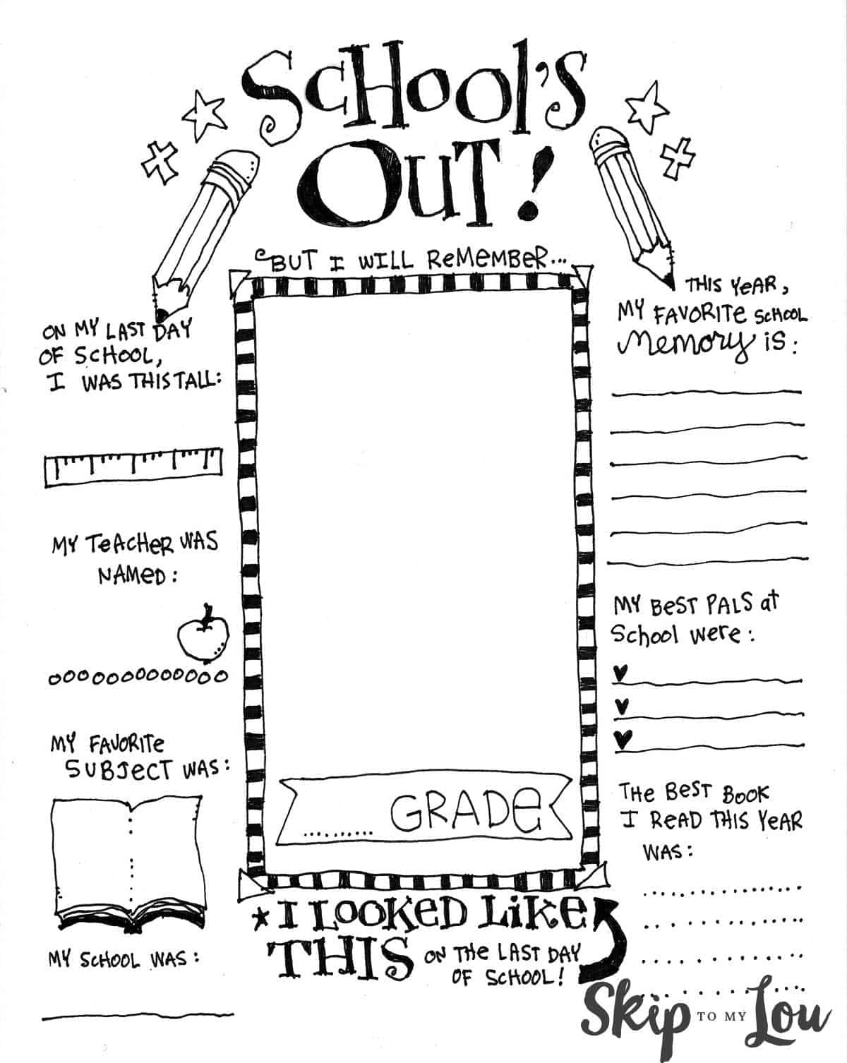 The Coolest Free Printable End Of School Coloring Page | Skip To My Lou - Free Printable Preschool Memory Book