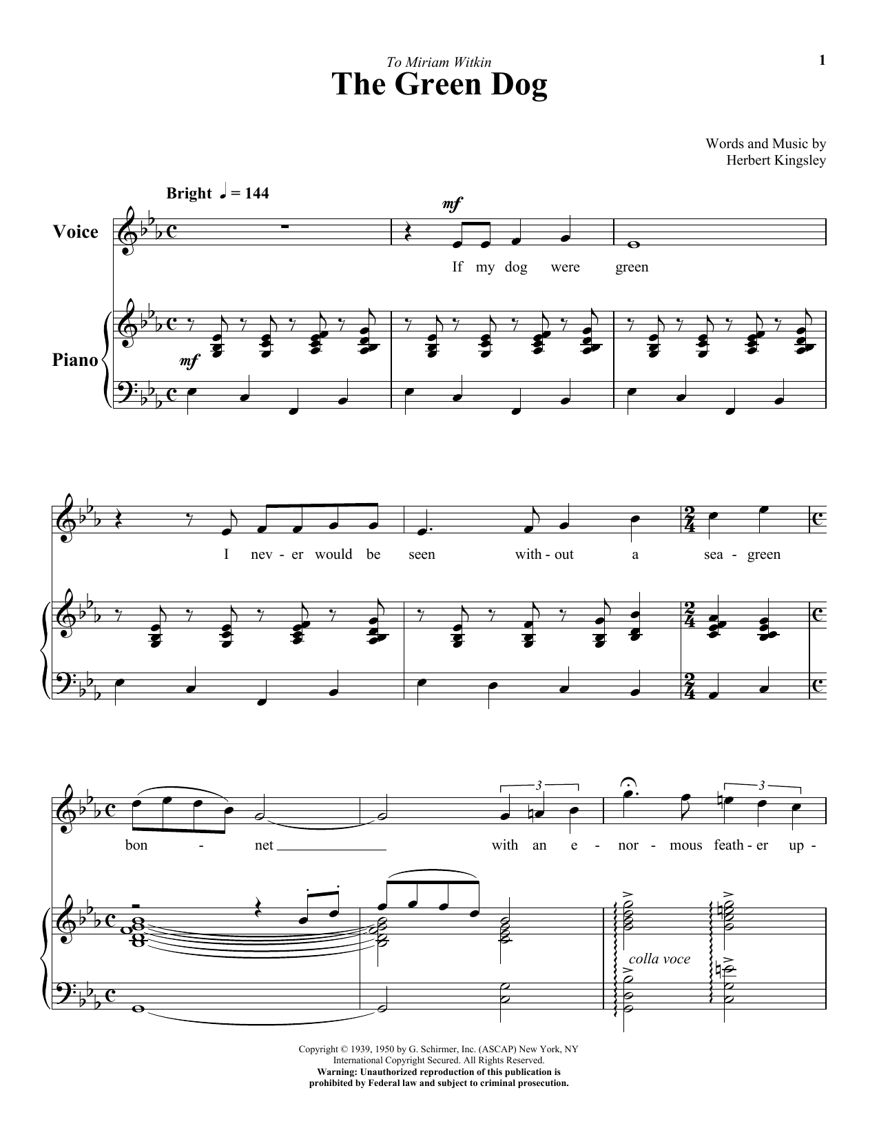 The Green Dog Sheet Music | Herbert Kingsley | Piano & Vocal - Free Printable Sheet Music For Voice And Piano