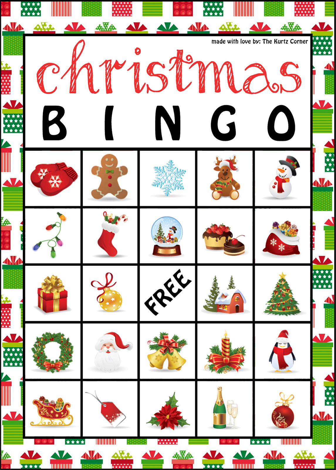 The Kurtz Corner: Free Printable Christmas Bingo Cards | Winter / X - Free Printable Christmas Bingo