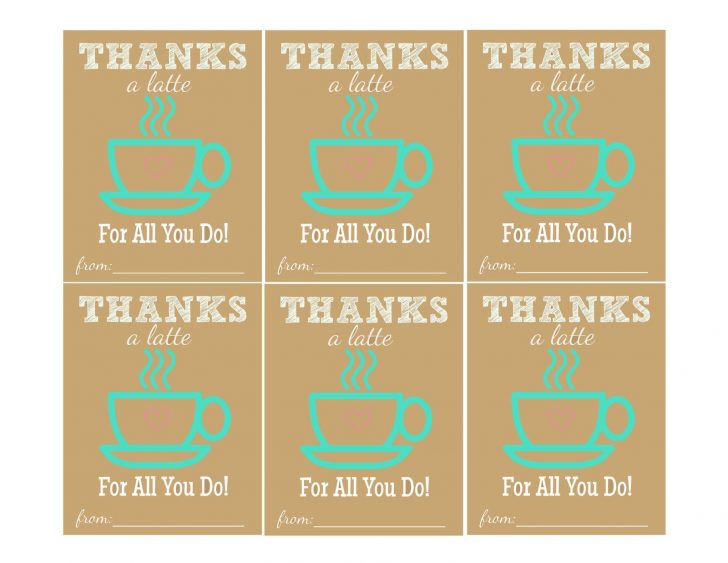 Thanks A Latte Free Printable Gift Tag