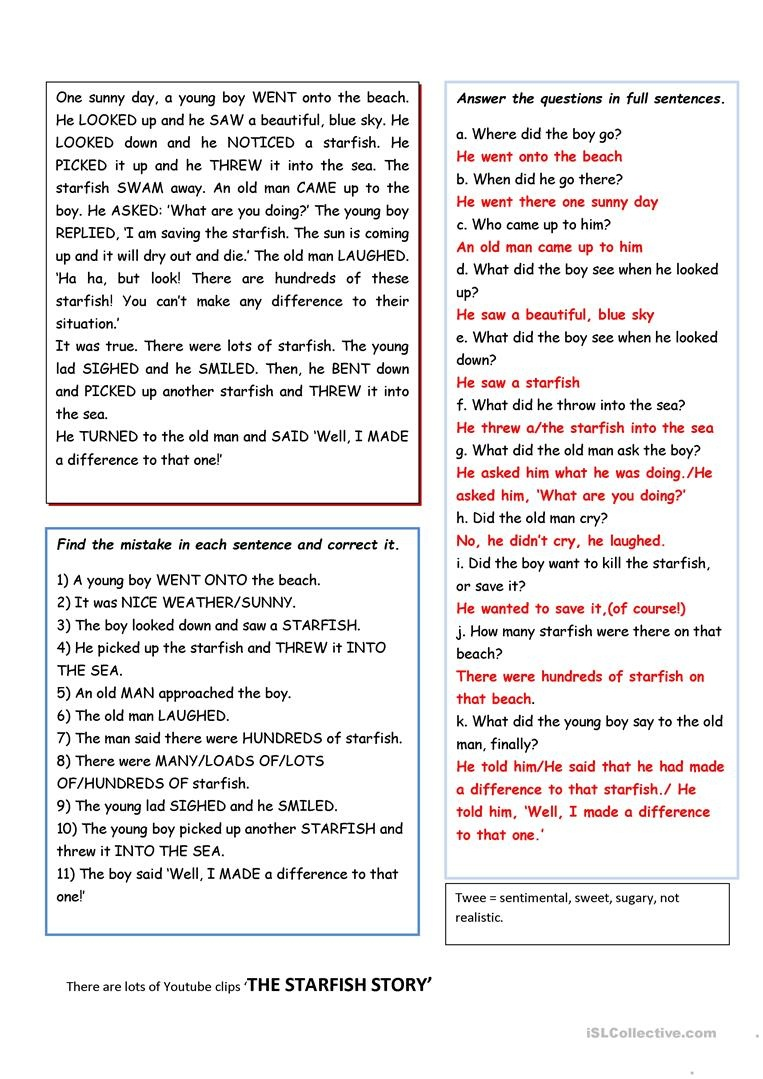 The Starfish Story/you Can Make A Difference! Worksheet - Free Esl - Starfish Story Printable Free