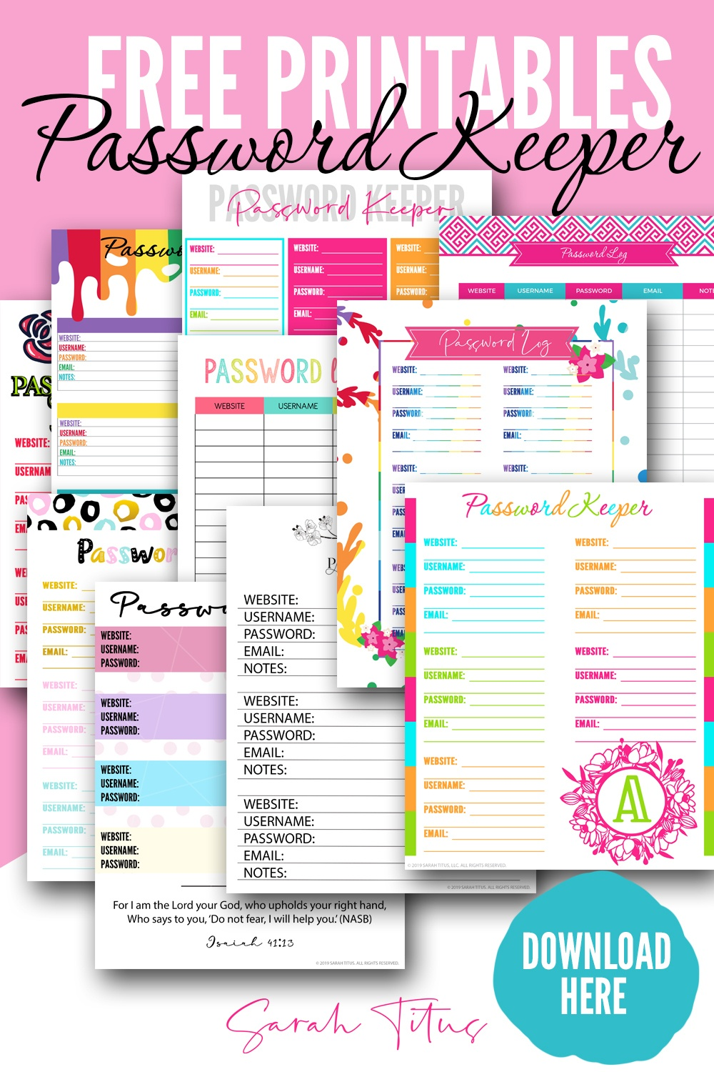 Top Password Keeper Free Printables To Download Instantly - Sarah Titus - Free Printable Password Keeper
