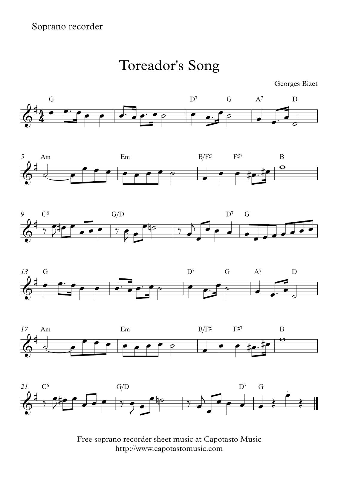 Toreador's Song | Free Easy Soprano Recorder Sheet Music - Free Printable Recorder Sheet Music For Beginners