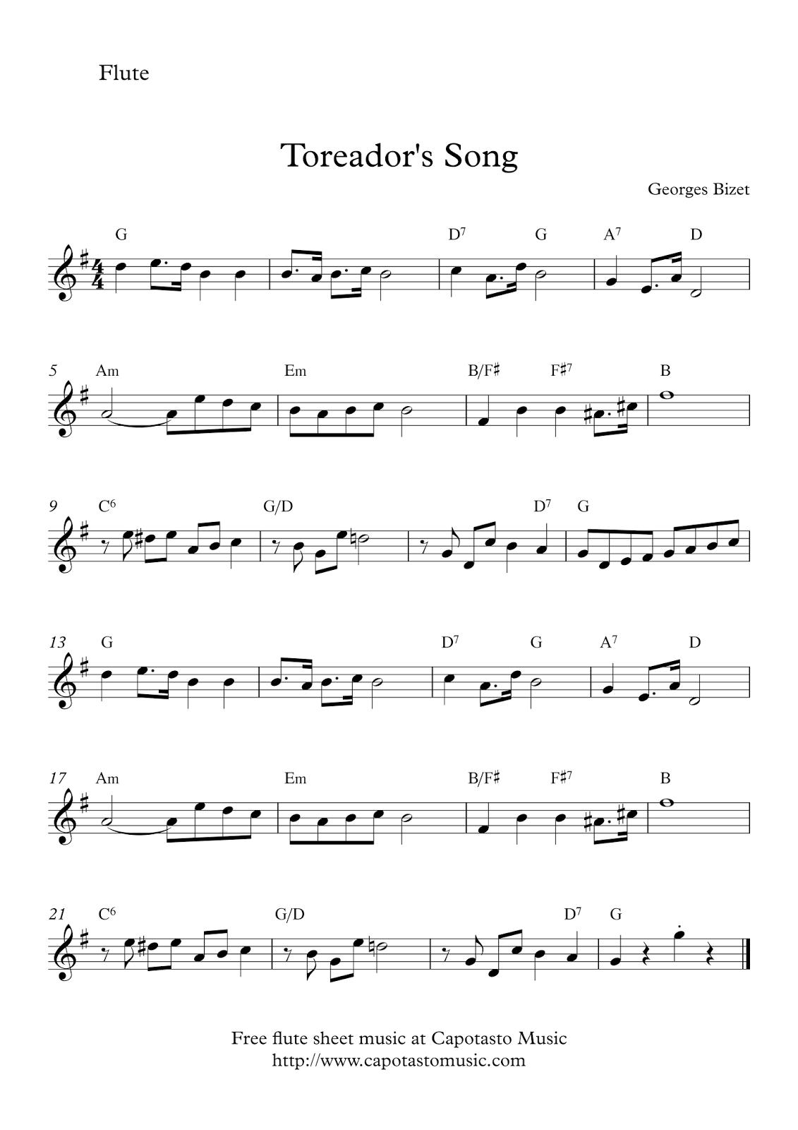 Toreador´s Song | Free Flute Sheet Music | Flute In 2019 | Flute - Free Printable Flute Sheet Music