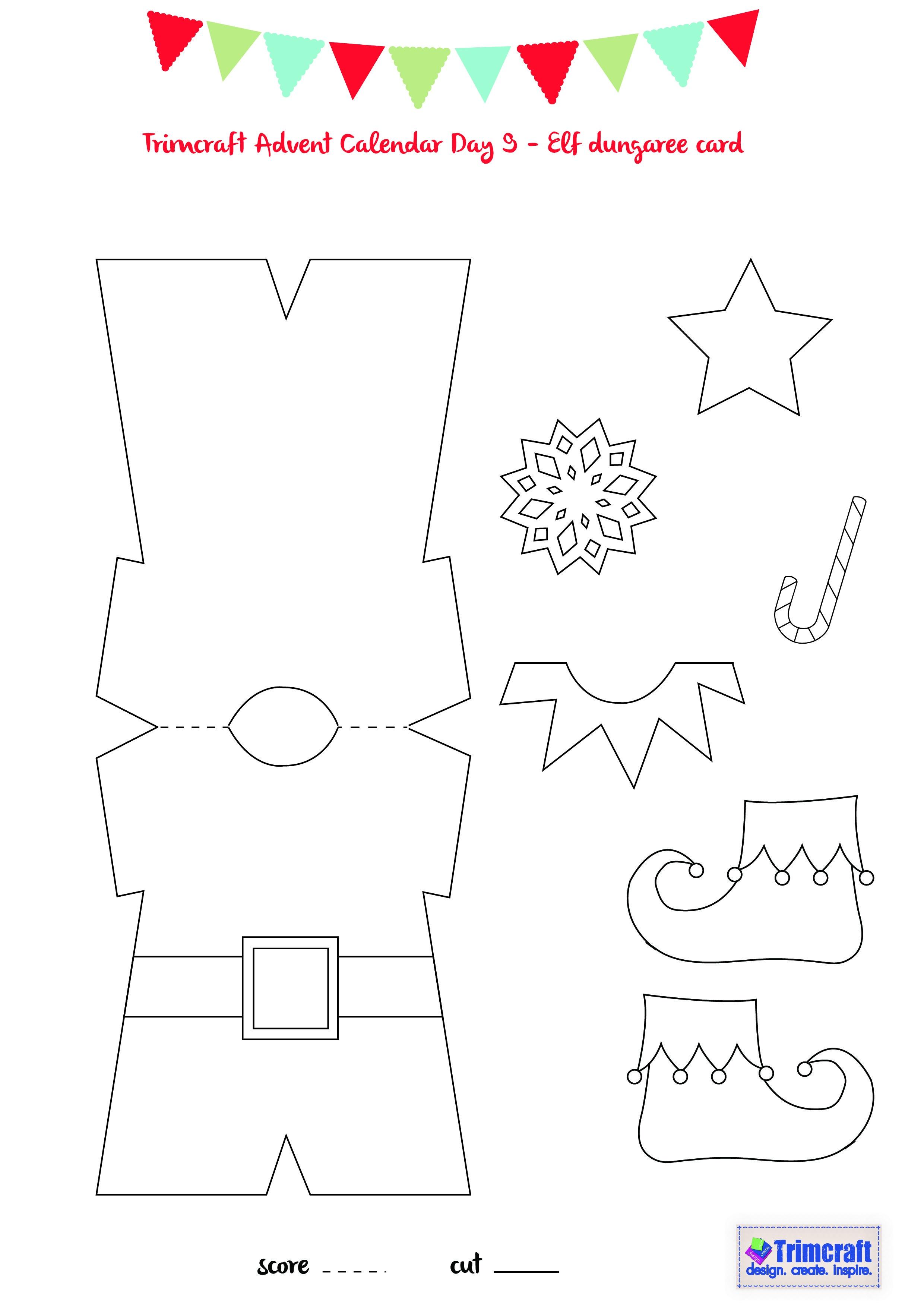 Trimcraft Advent Calendar Day 9 - Elf Card Template | Winter - Free Printable Elf Pattern