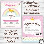 Unicorn Birthday Party Invitations And Thank You Notes   Free   Play Date Invitations Free Printable