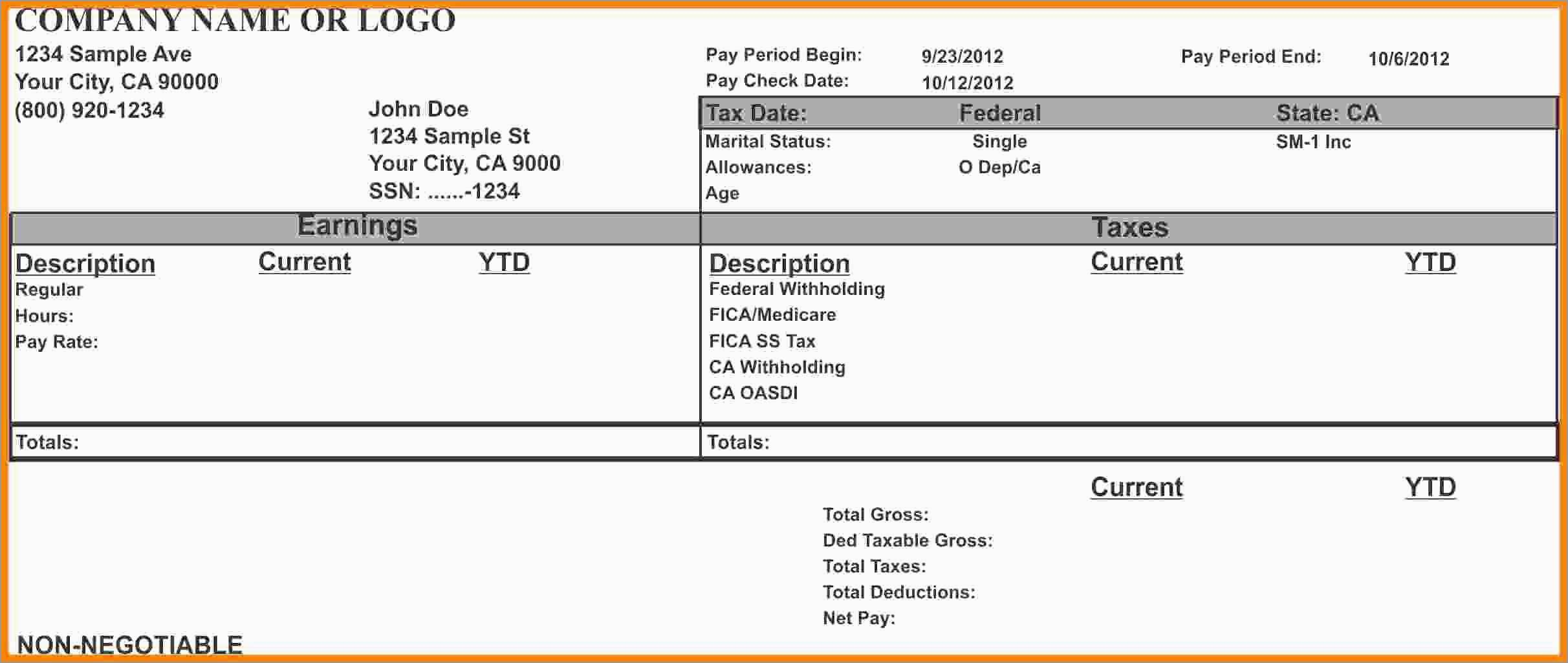 Unique Free Pay Stub Template Download | Best Of Template - Free Printable Check Stubs Download