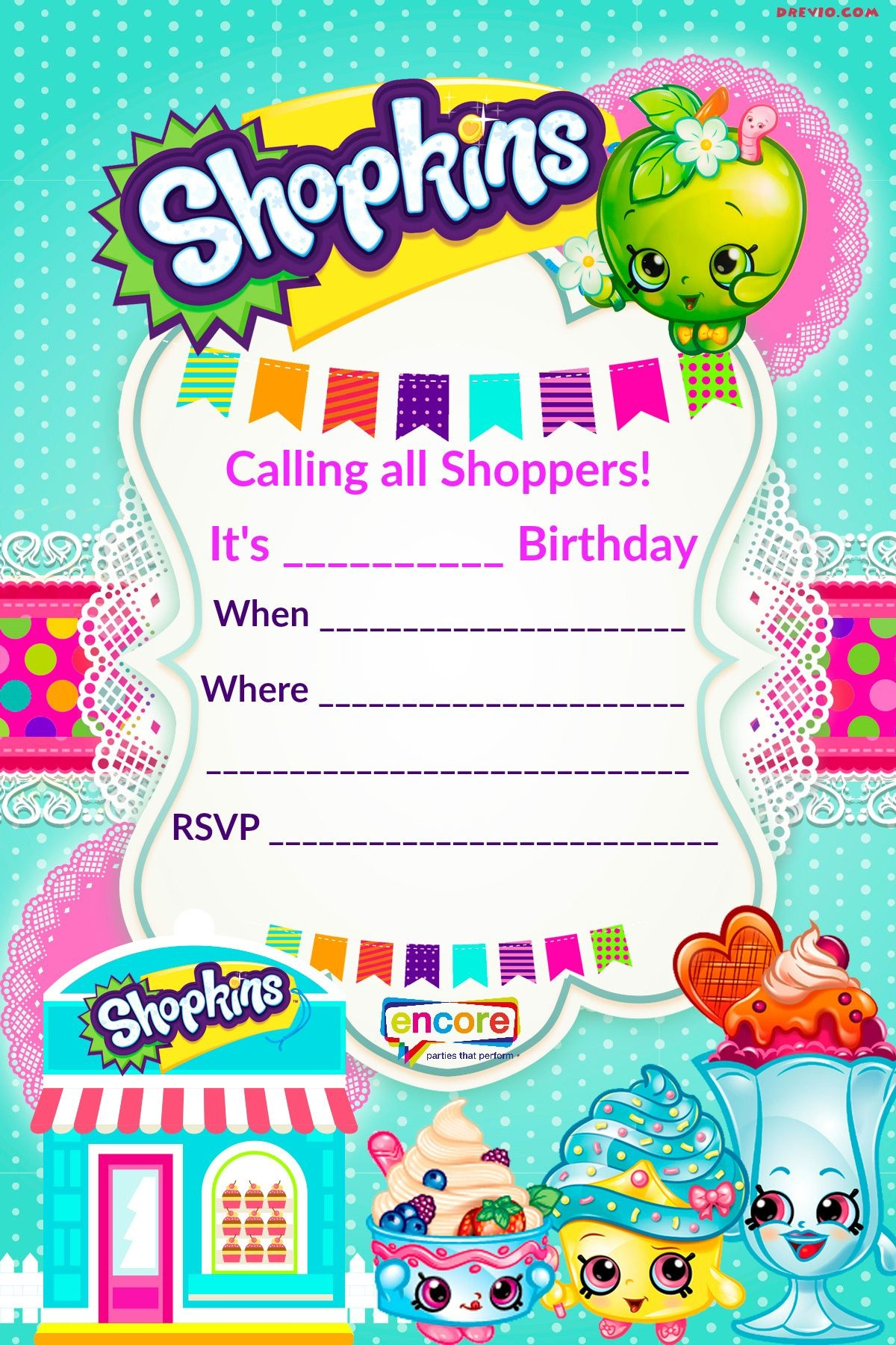Updated - Free Printable Shopkins Birthday Invitation | Event - Shopkins Banner Printable Free