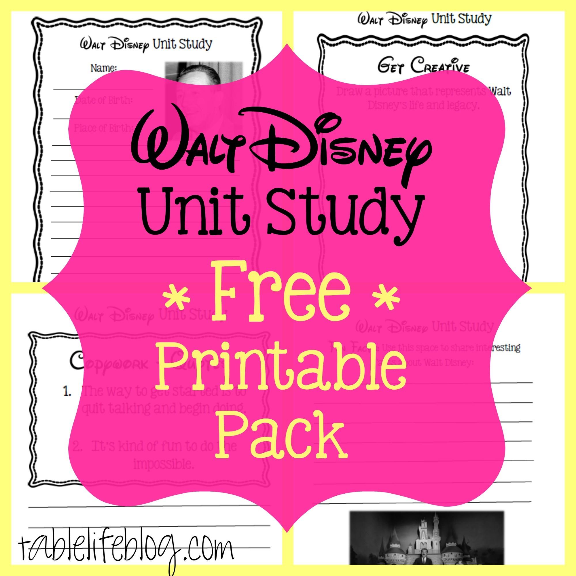 Walt Disney Unit Study (With Free Printable!) • Tablelifeblog - Free Printable Disney Stories