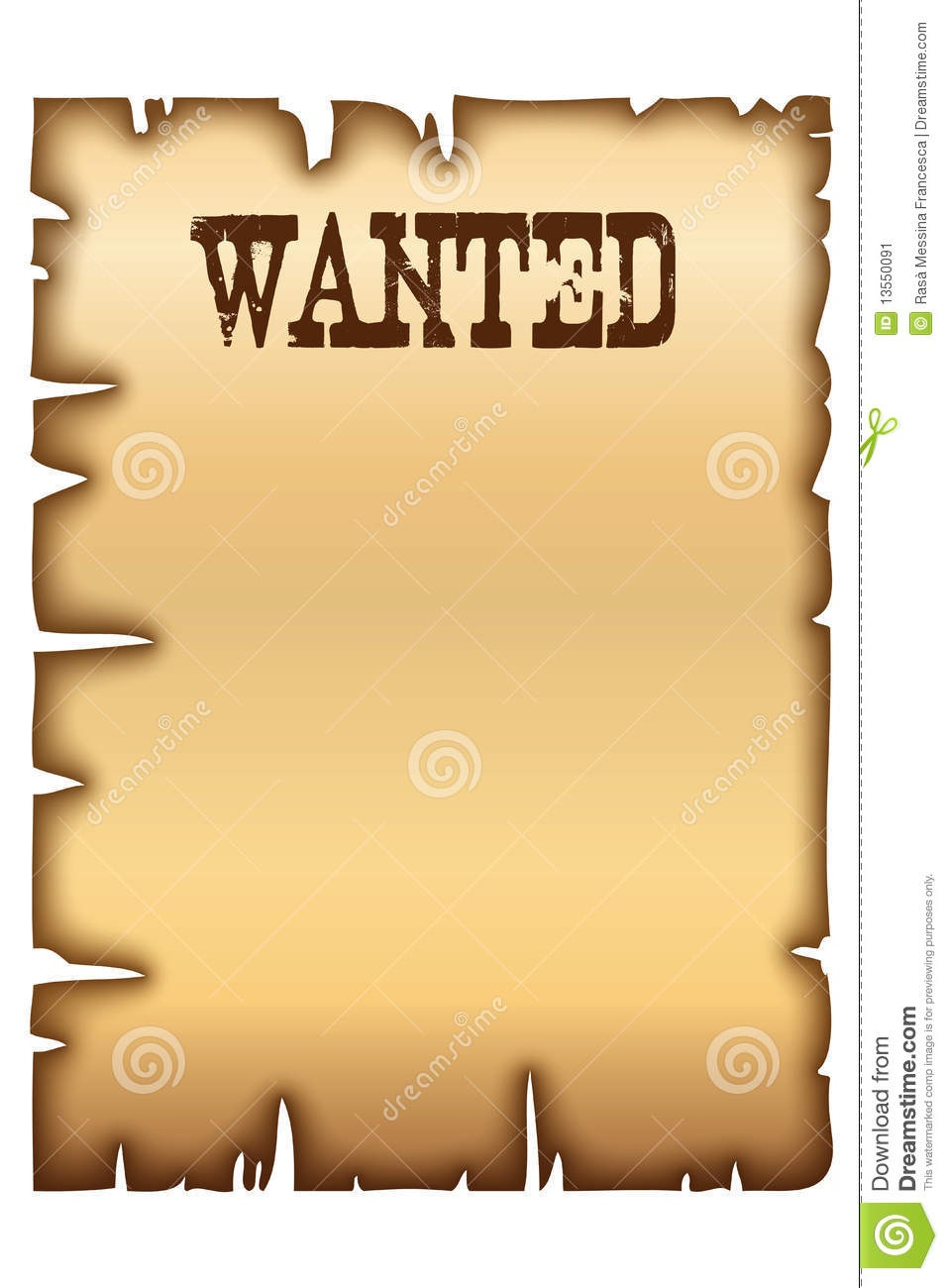 Wanted Poster Stock Vector. Illustration Of Edge, Antique - 13550091 - Free Printable Wanted Poster Invitations