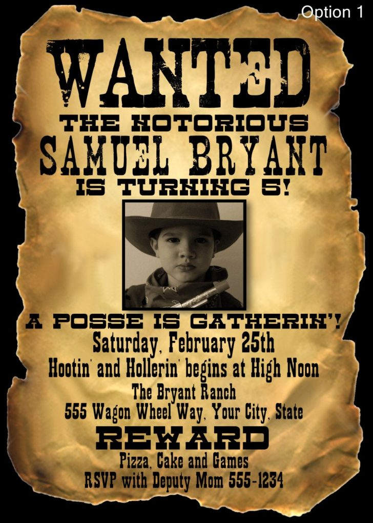 Free Printable Wanted Poster Invitations