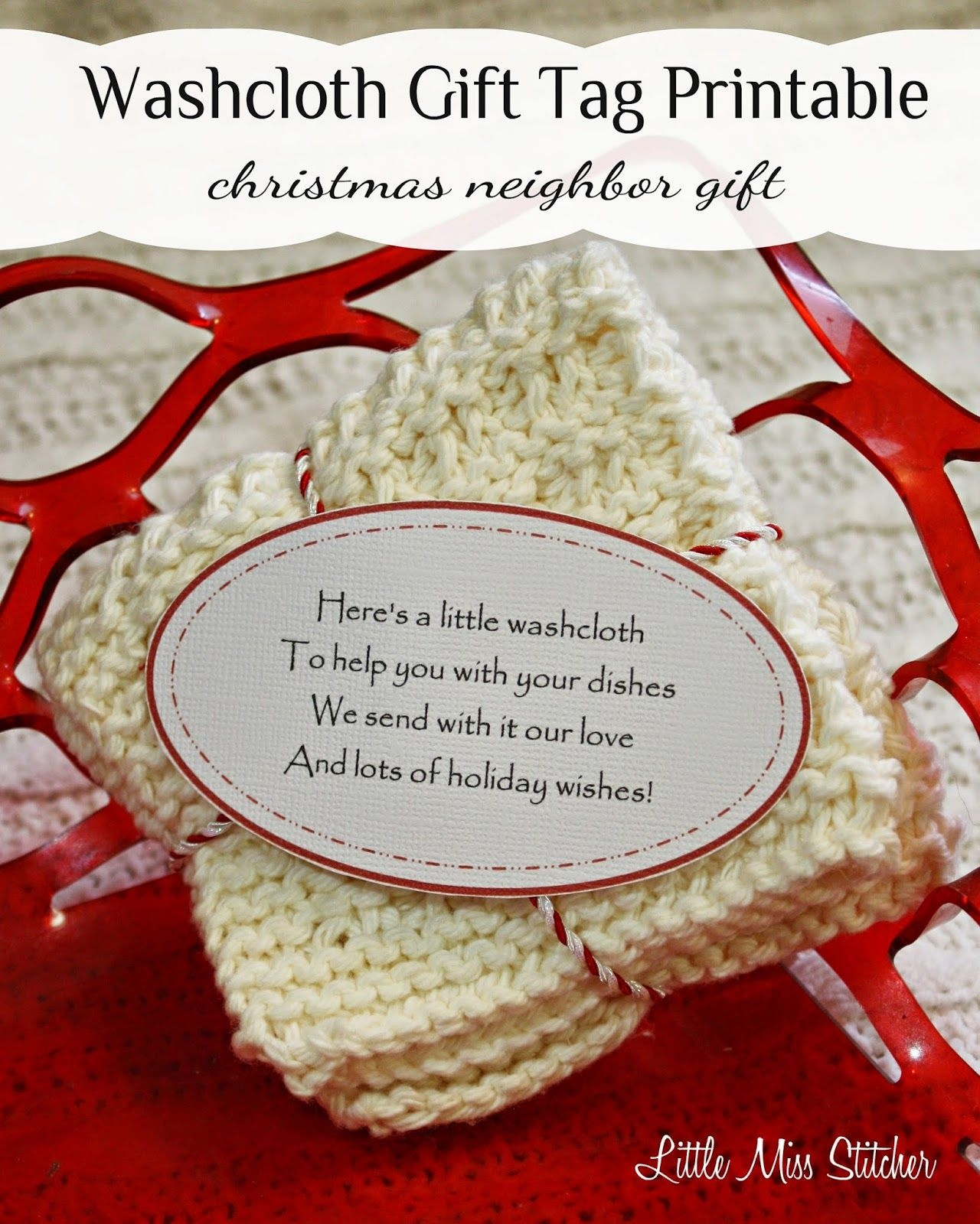 Washcloth Gift Idea For Christmas.the Cute Poem On These Free - Free Printable Dishcloth Wrappers