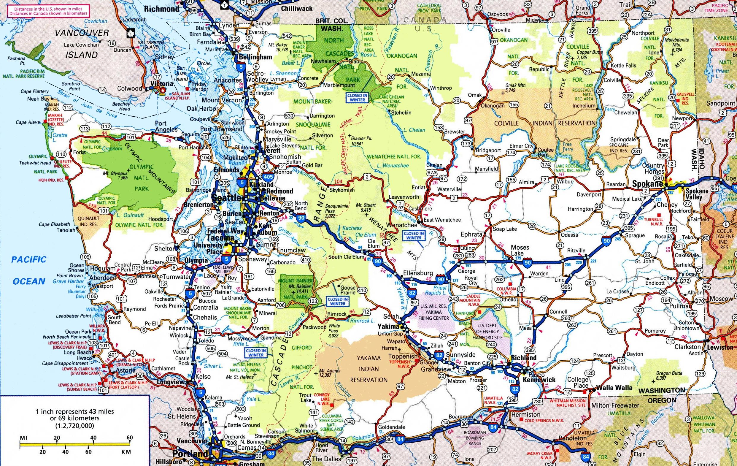Washington Road Map - Free Printable Map Of Washington State