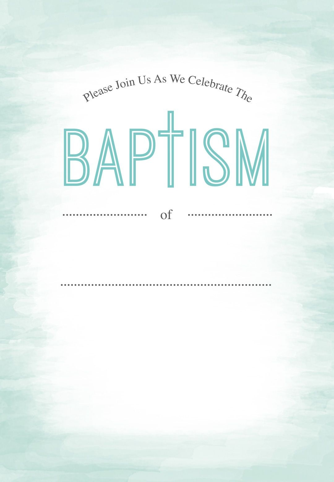 Water - Free Printable Baptism & Christening Invitation Template - Free Printable Baptism Greeting Cards