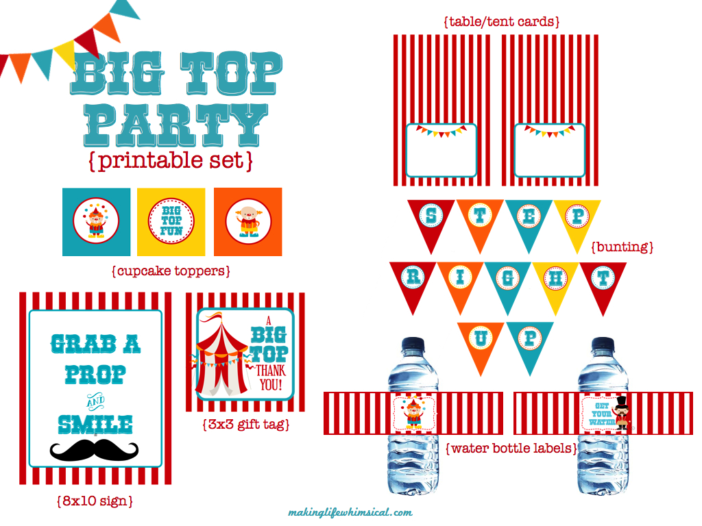 We Heart Parties: Free Printables Big Top Circus Party Free Printables - Free Printable Carnival Decorations