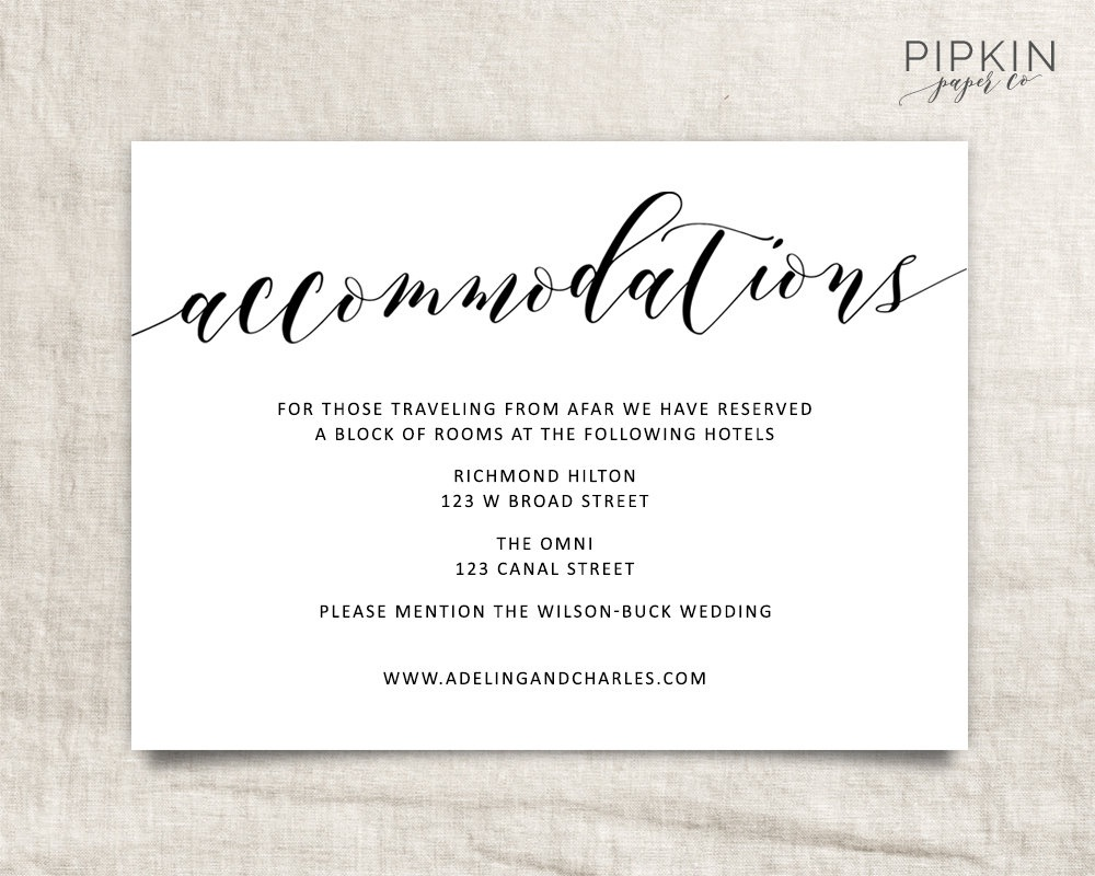 Wedding Accommodations Template Printable Accommodations   Etsy - Free Printable Enclosure Cards