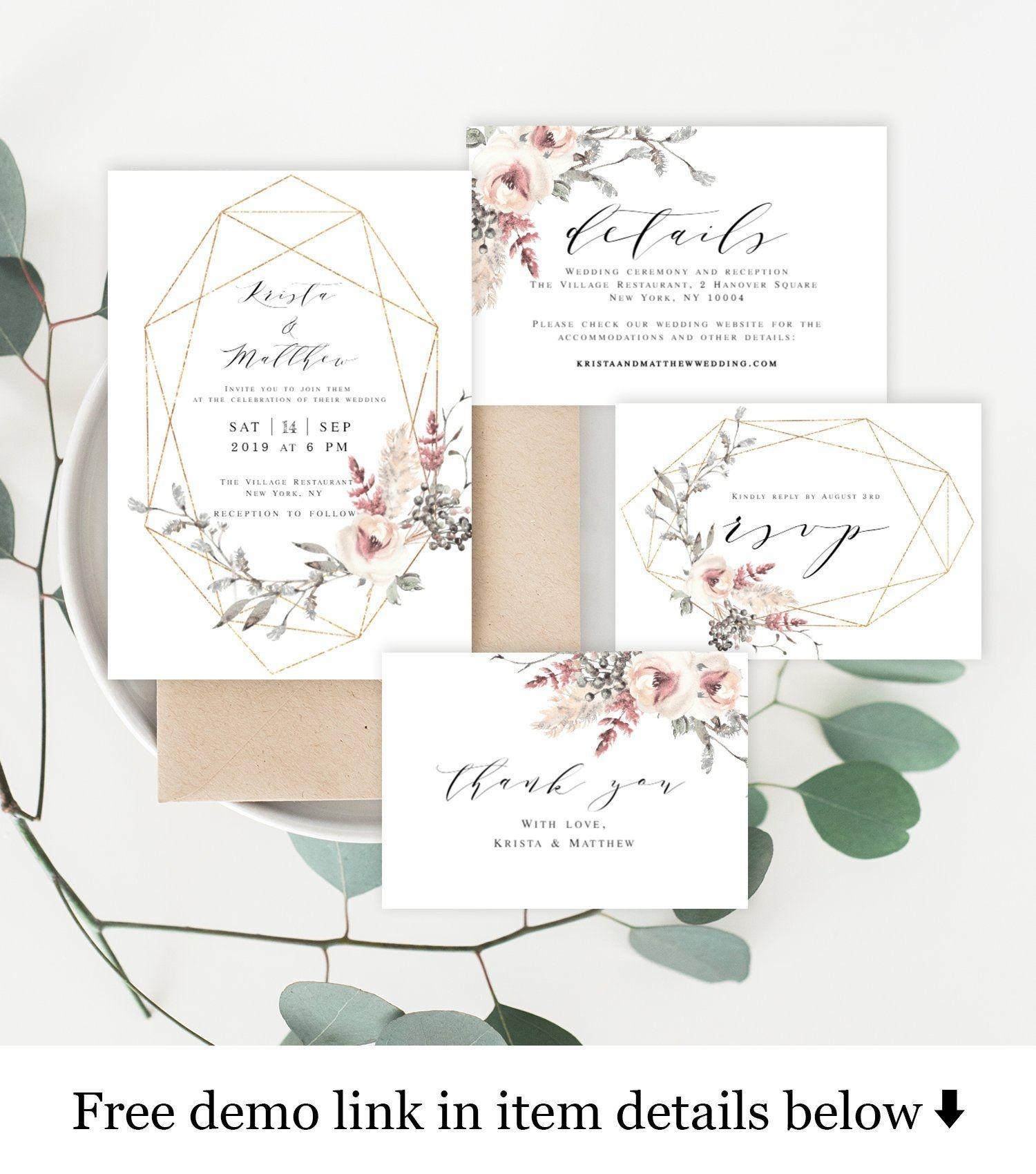 Wedding Invitation Kit Invite Template 100% Editable Unlimited Diy - Free Printable Enclosure Cards