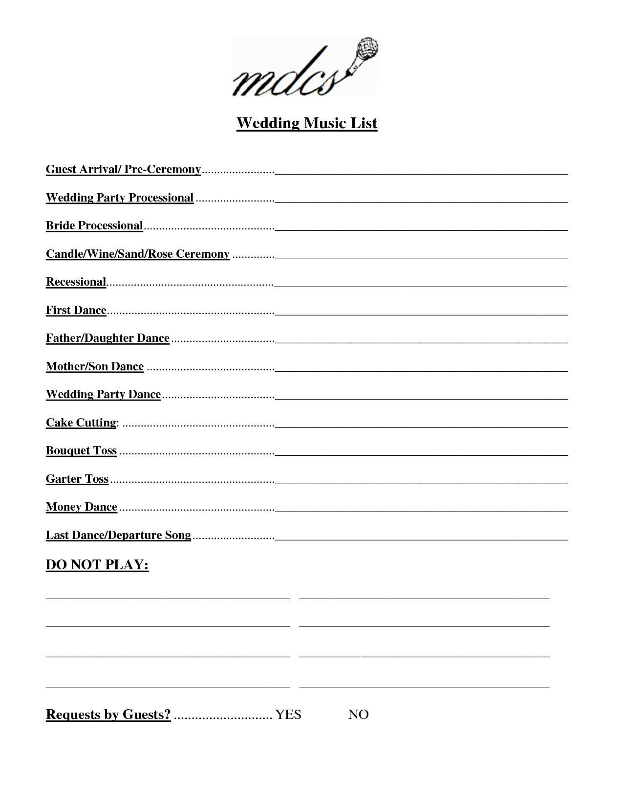 Wedding Party List Template Free | Fosterhaley Wedding Music List - Free Printable Wedding Party List