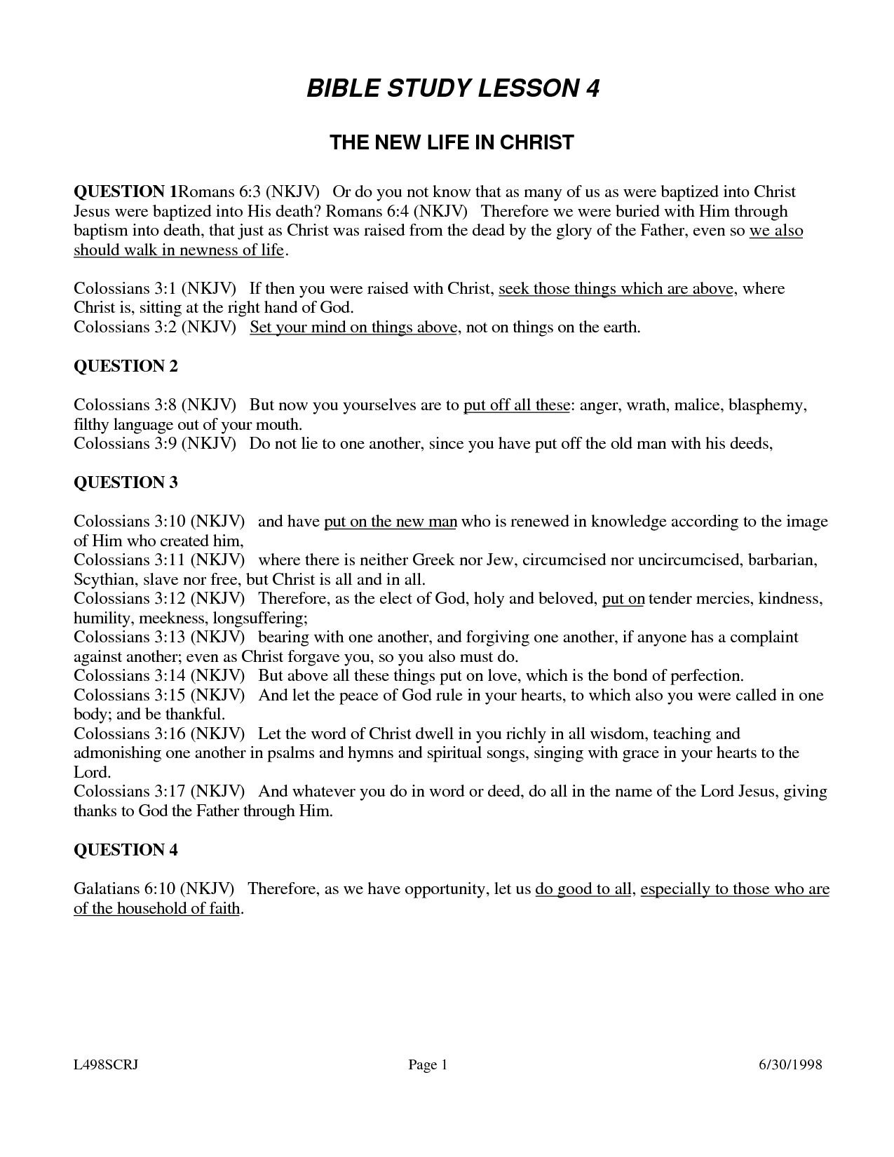 Weekly Bible Study Lesson - Free Printable Bible Study Lessons For Adults