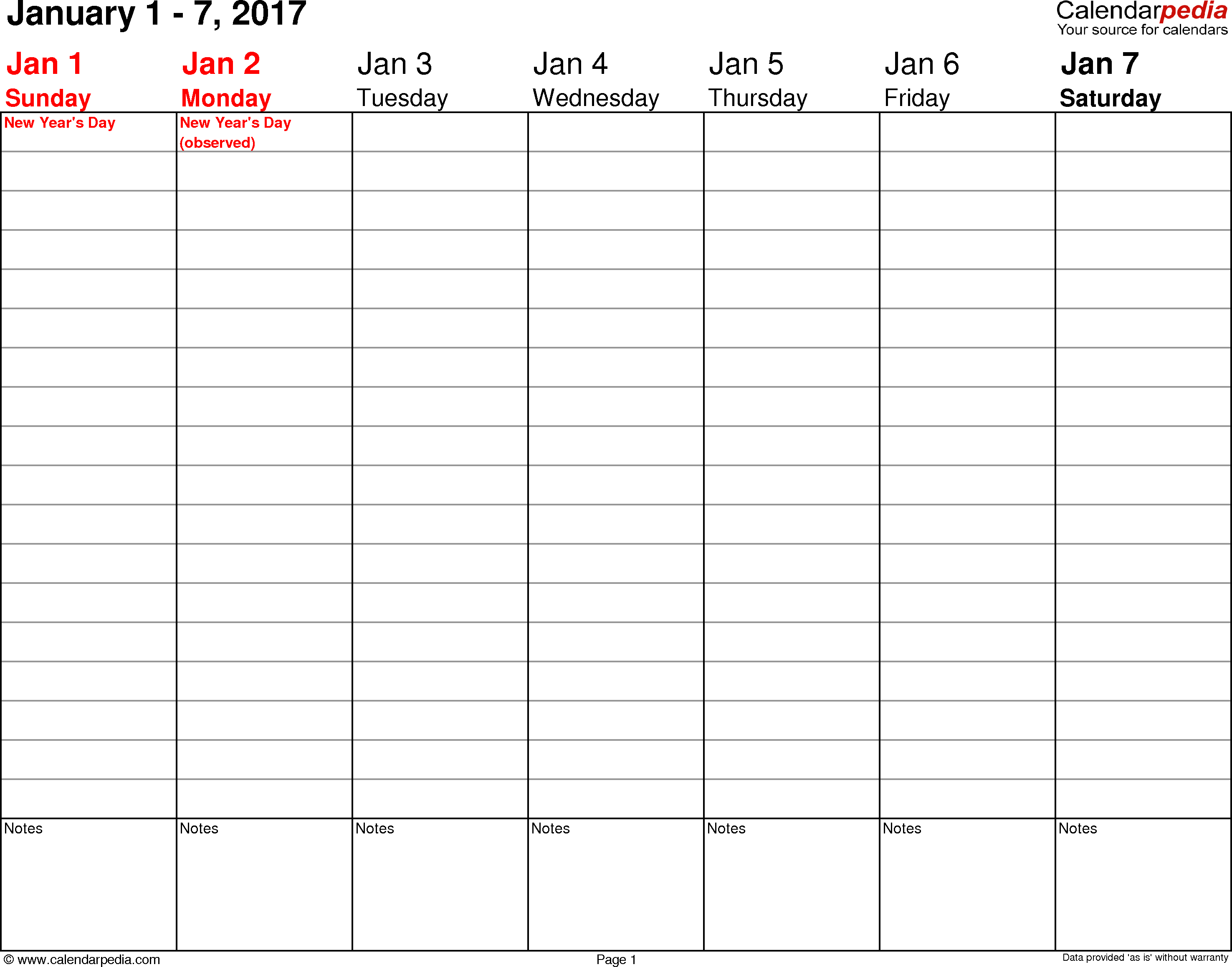 Weekly Calendar 2017 For Word - 12 Free Printable Templates - Free Printable Agenda 2017