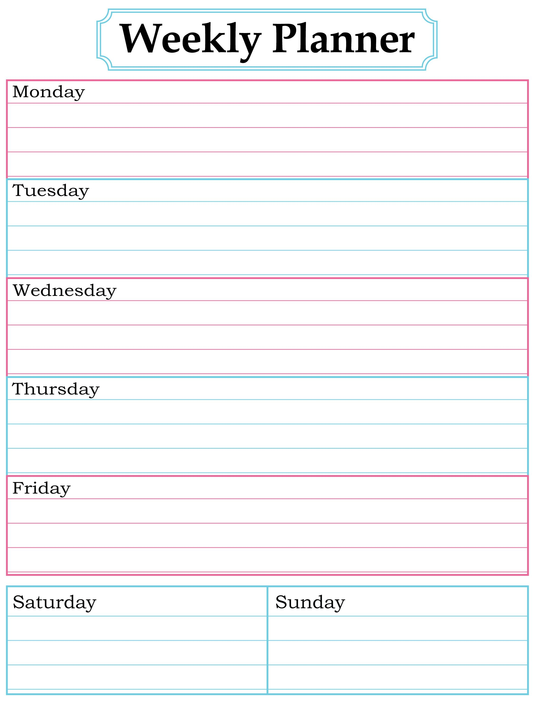Weekly Planner Printable. Nice, Simple, Clean Lines. | School - Free Printable School Agenda Templates
