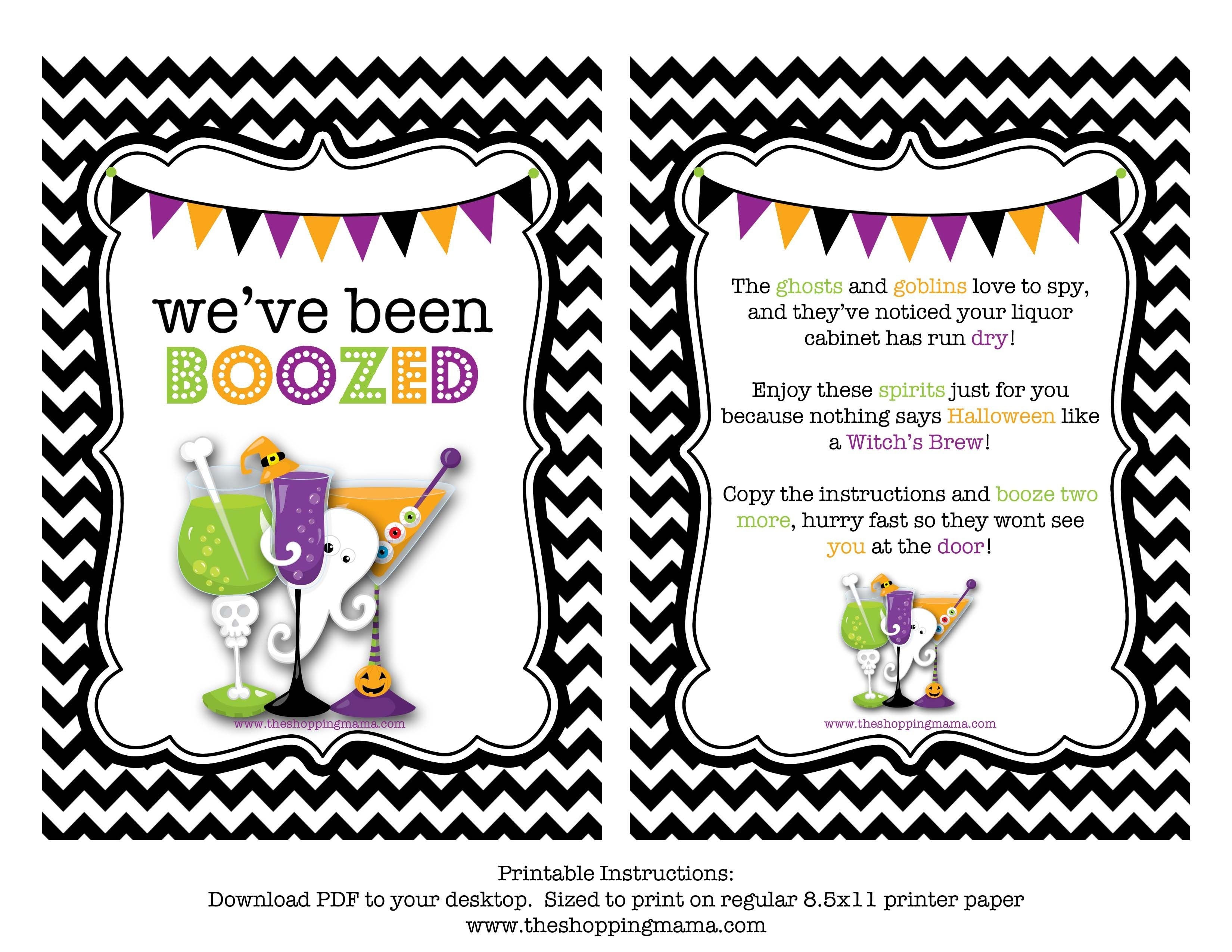 We've Been Boozed! {Free Printable} | Miscellaneous | Halloween - You Ve Been Boozed Free Printable