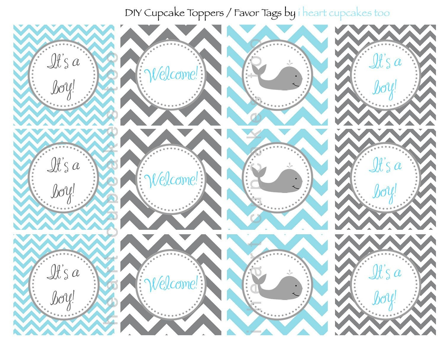 Whale Baby Shower. $5.00, Via Etsy. | My Munchkins | Baby Shower - Free Printable Whale Cupcake Toppers