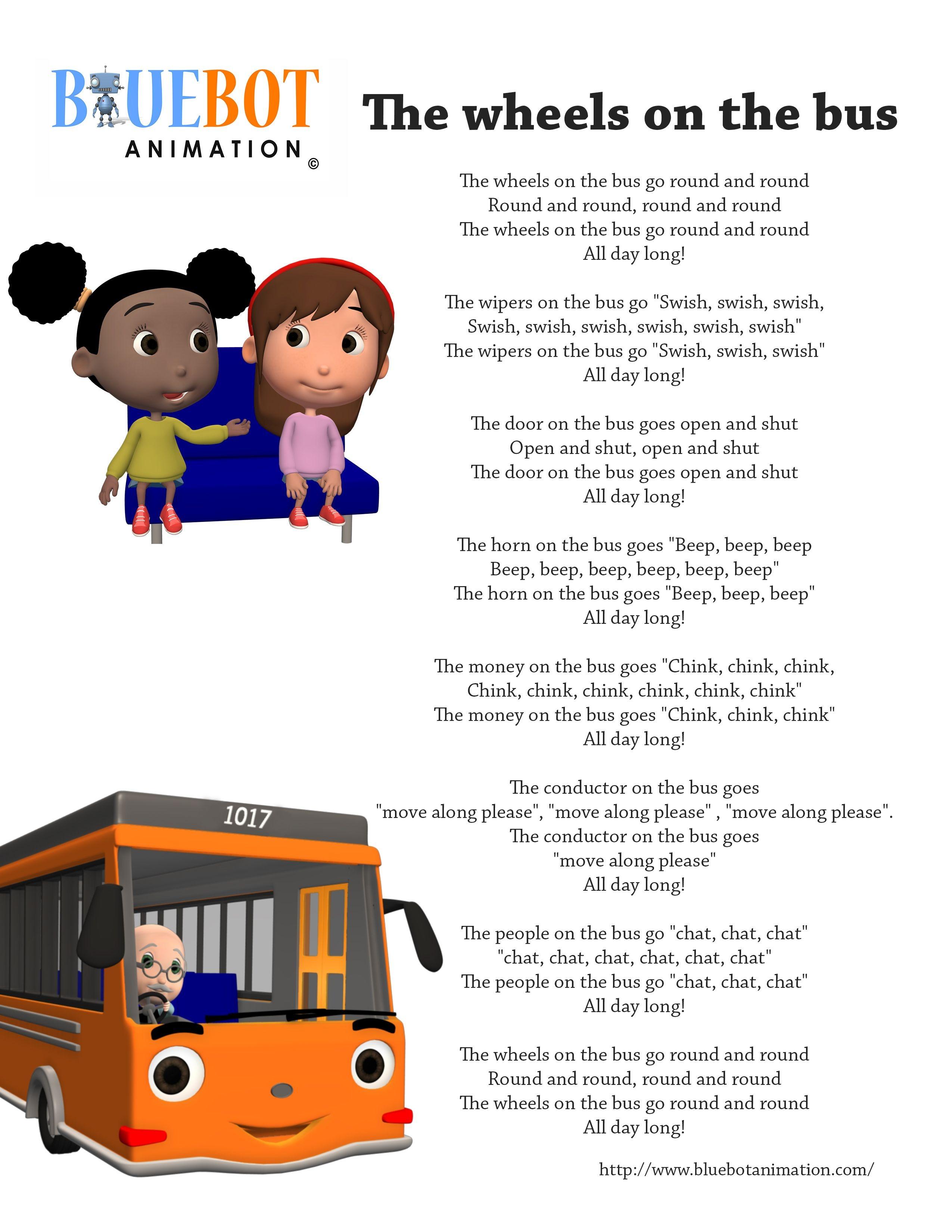 Wheels On The Bus Nursery Rhyme Lyrics Free Printable Nursery Rhyme - Free Printable Nursery Rhymes Songs