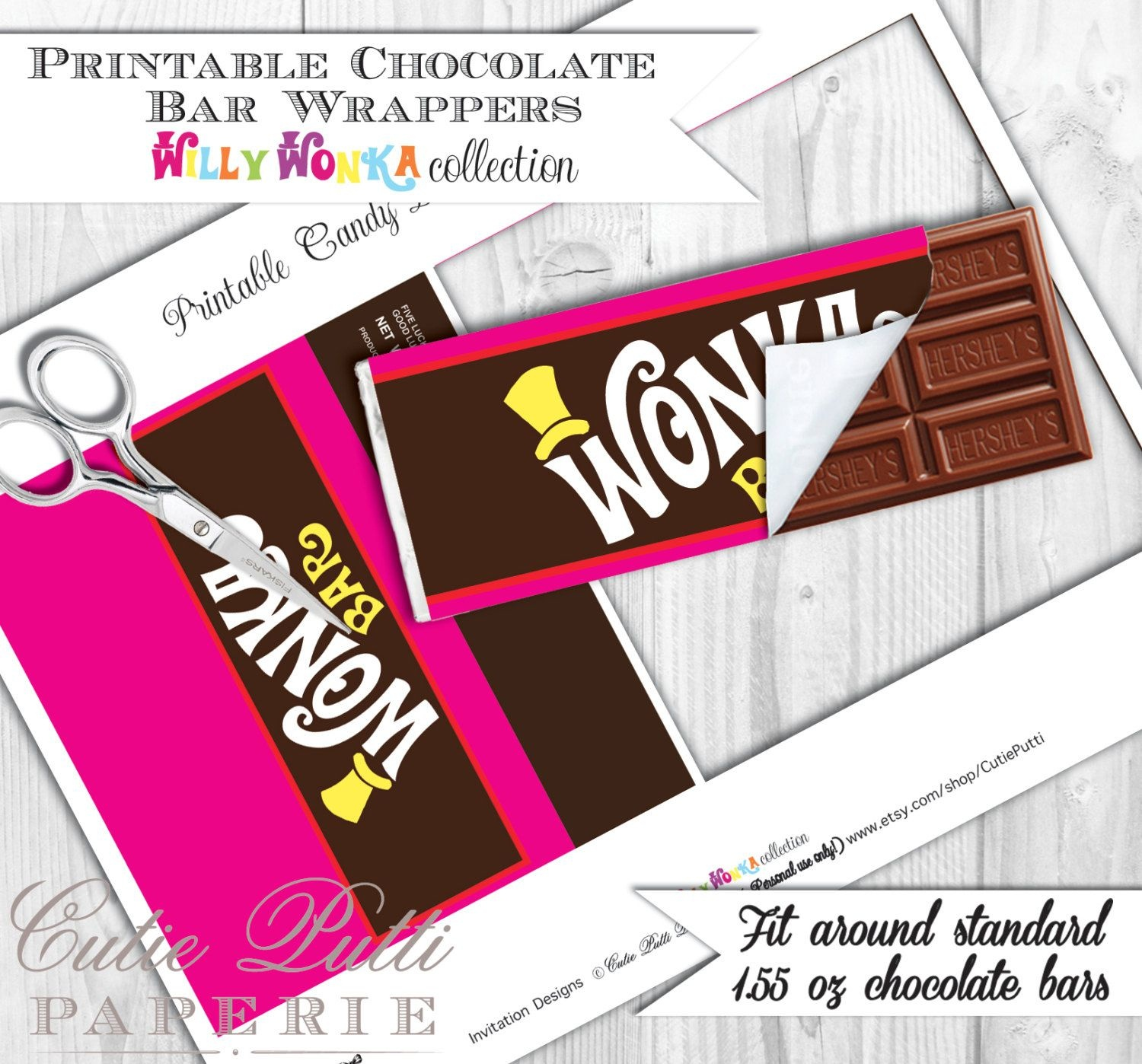 Willy Wonka Party, Candy Party - Printable Chocolate Bar Wrappers - Wonka Bar Wrapper Printable Free