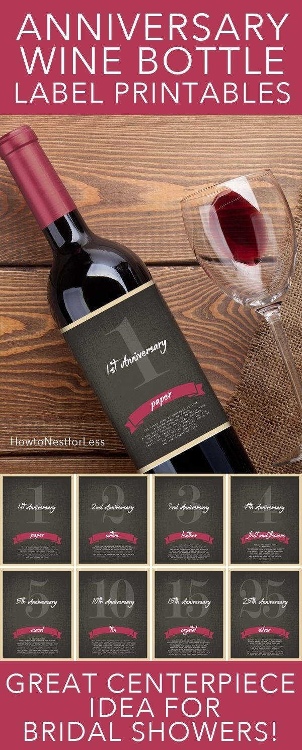 Wine Bottle Anniversary Labels Free Printable | Bloggers' Best Diy - Free Printable Wine Labels With Photo