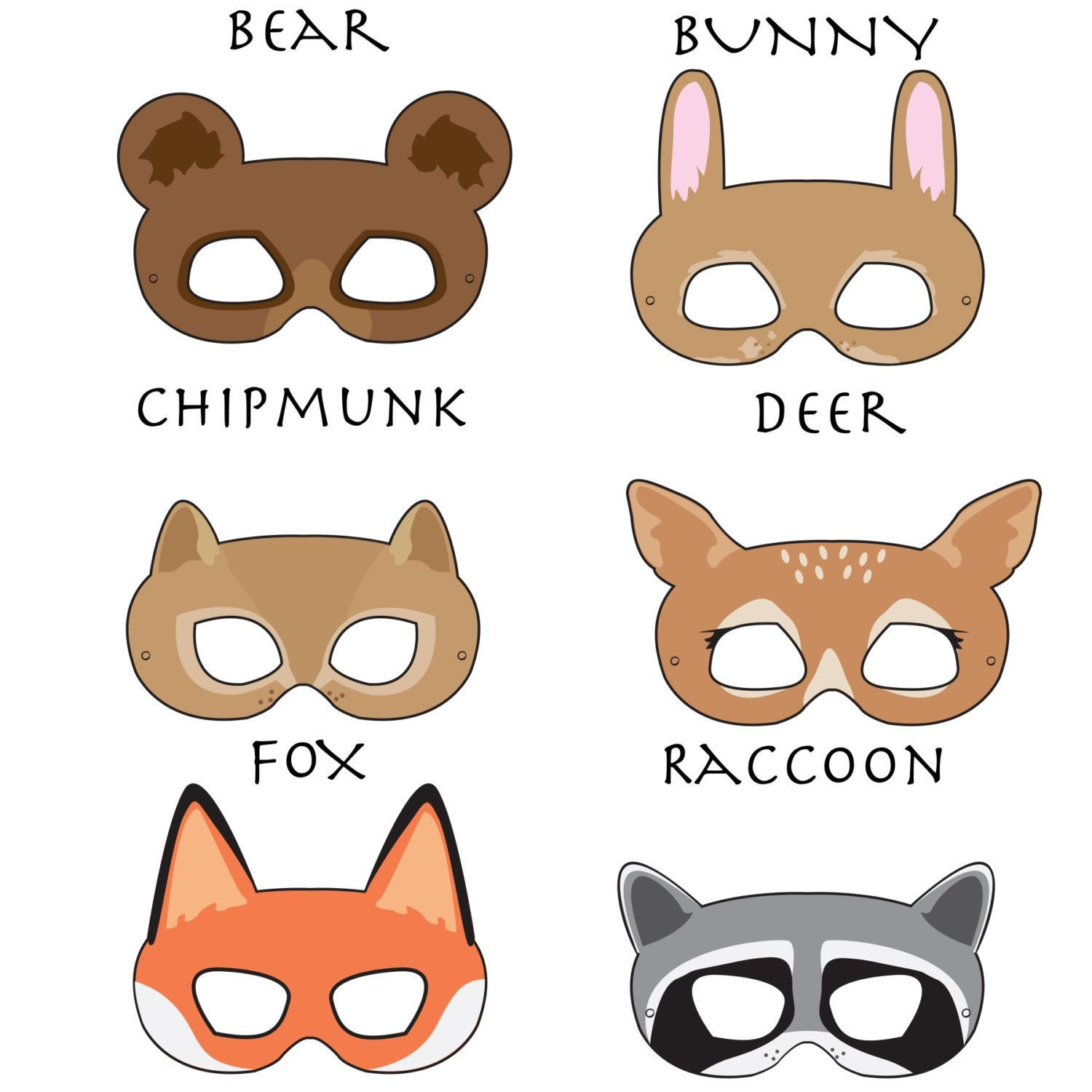 Woodland Forest Animals Printable Masks, Woodland Animal Mask, Bear - Free Printable Chipmunk Mask