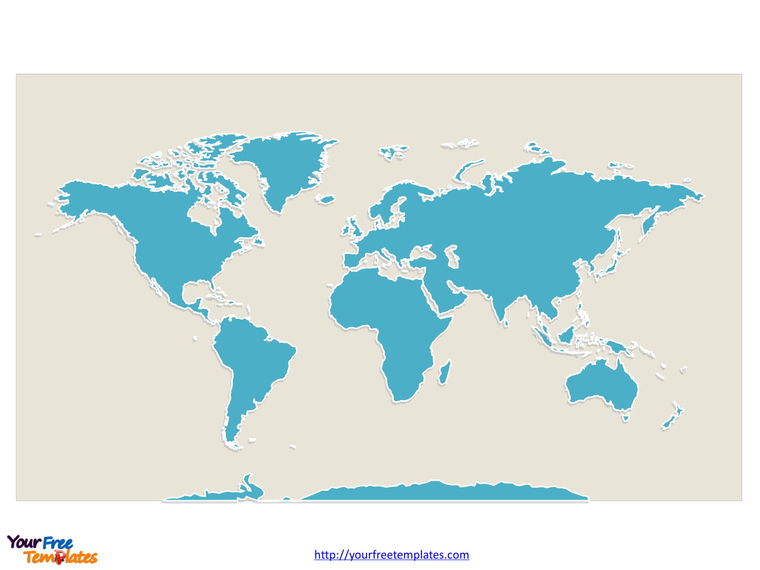 World Map With Continents - Free Powerpoint Templates - Free Printable World Map Pdf
