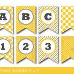 Yellow And Grey Banner, Party Banner, Birthday Banner, Baby Shower   Free Printable Baby Shower Banner Letters