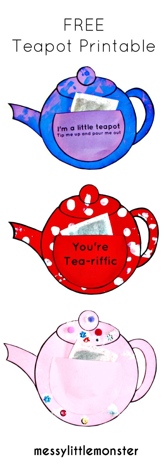 You're Tea-Riffic Teapot Craft - Free Printable Teapot Template - Free Teapot Printable