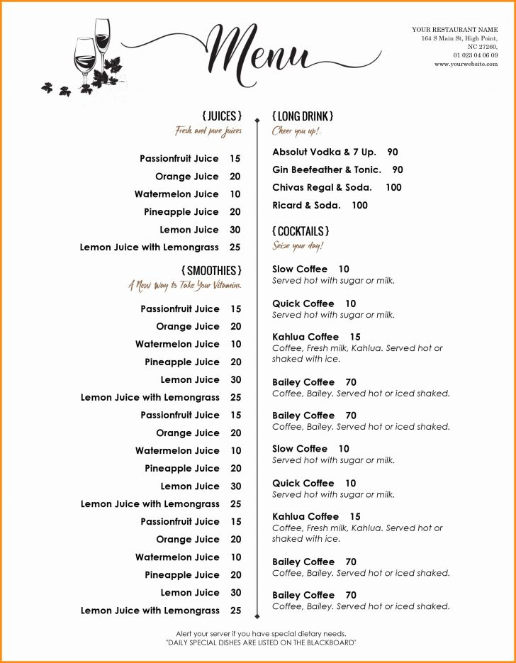 Free Printable Menu Templates Word