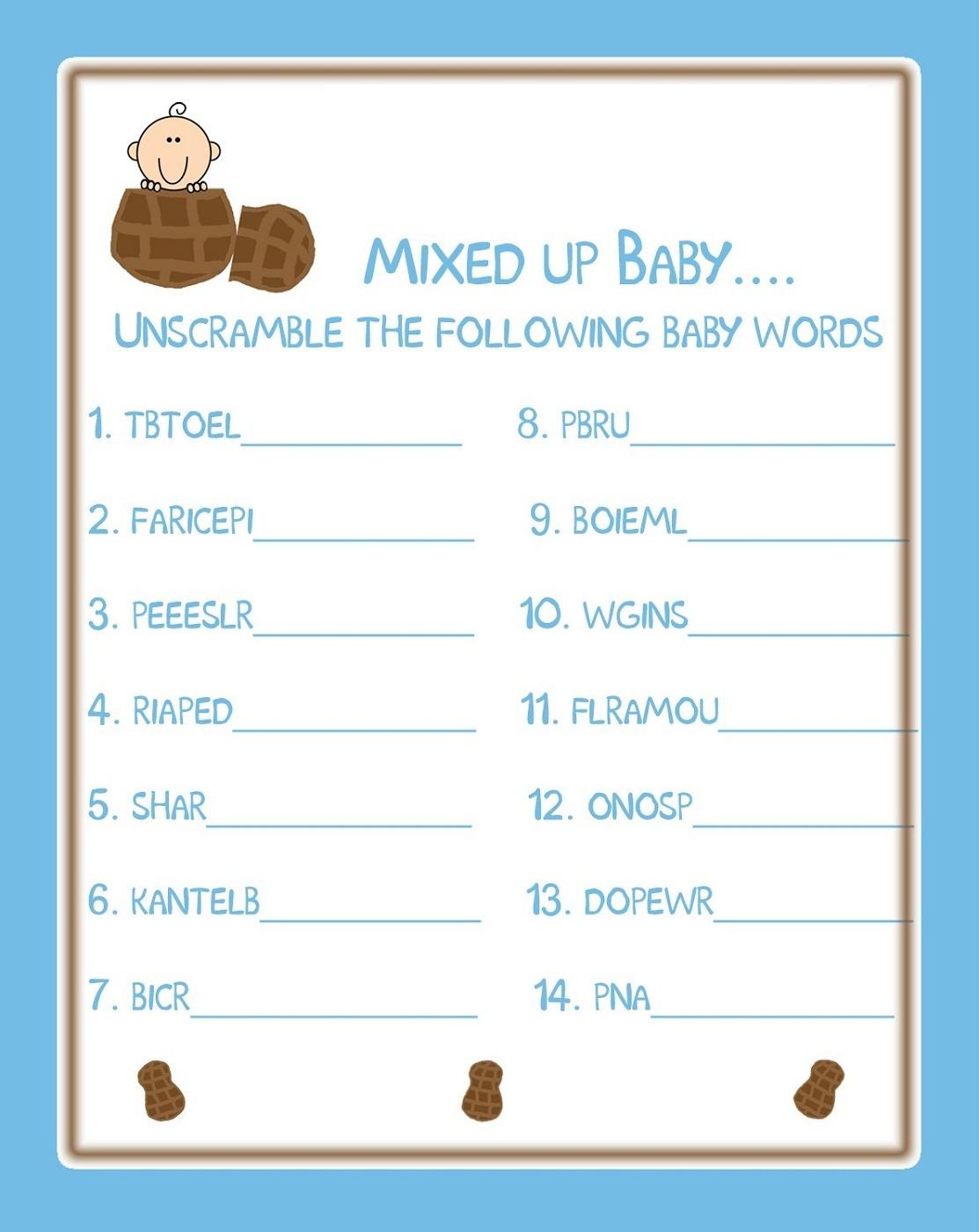 006 Baby Shower Word Scramble Template Fascinating Ideas Printable - Free Printable Baby Shower Games Word Scramble