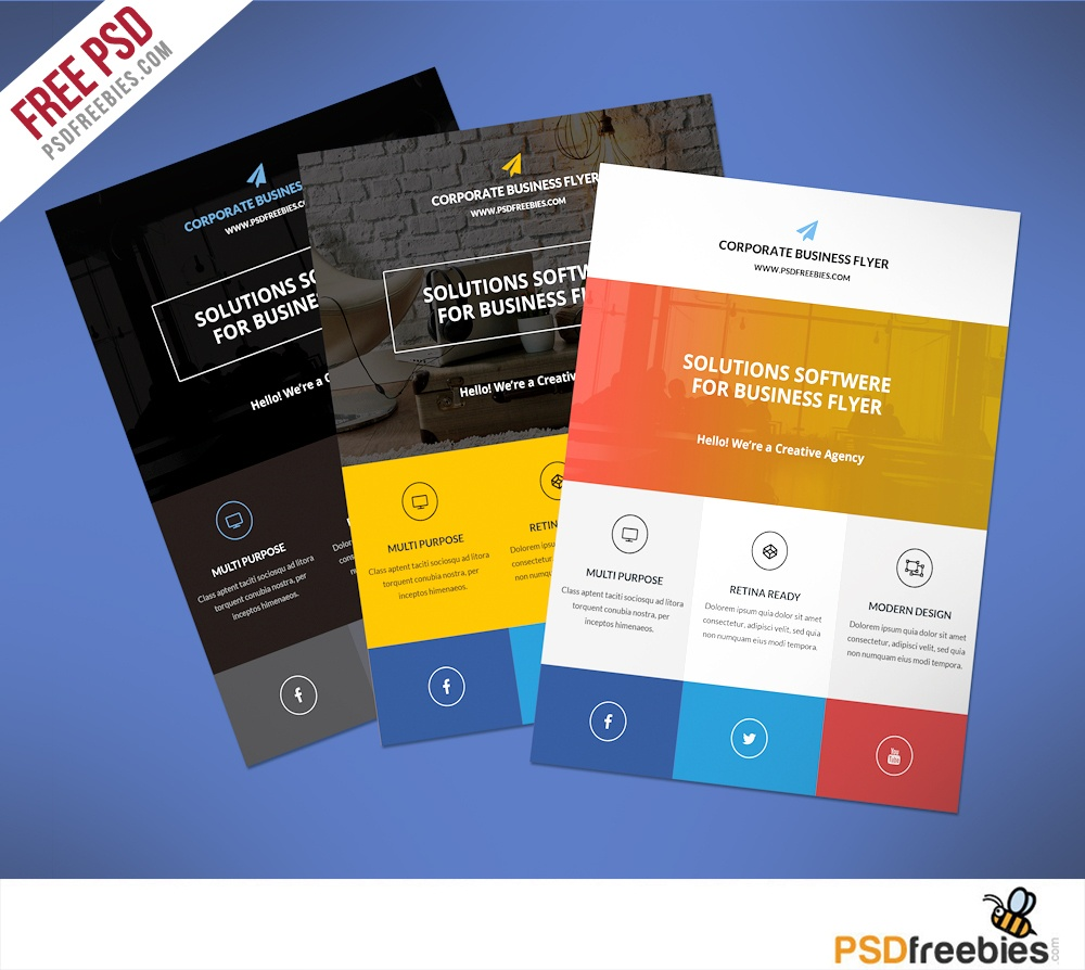 009 Free Printable Flyer Templates Business Flat Clean Corporate Psd - Create Free Printable Flyer
