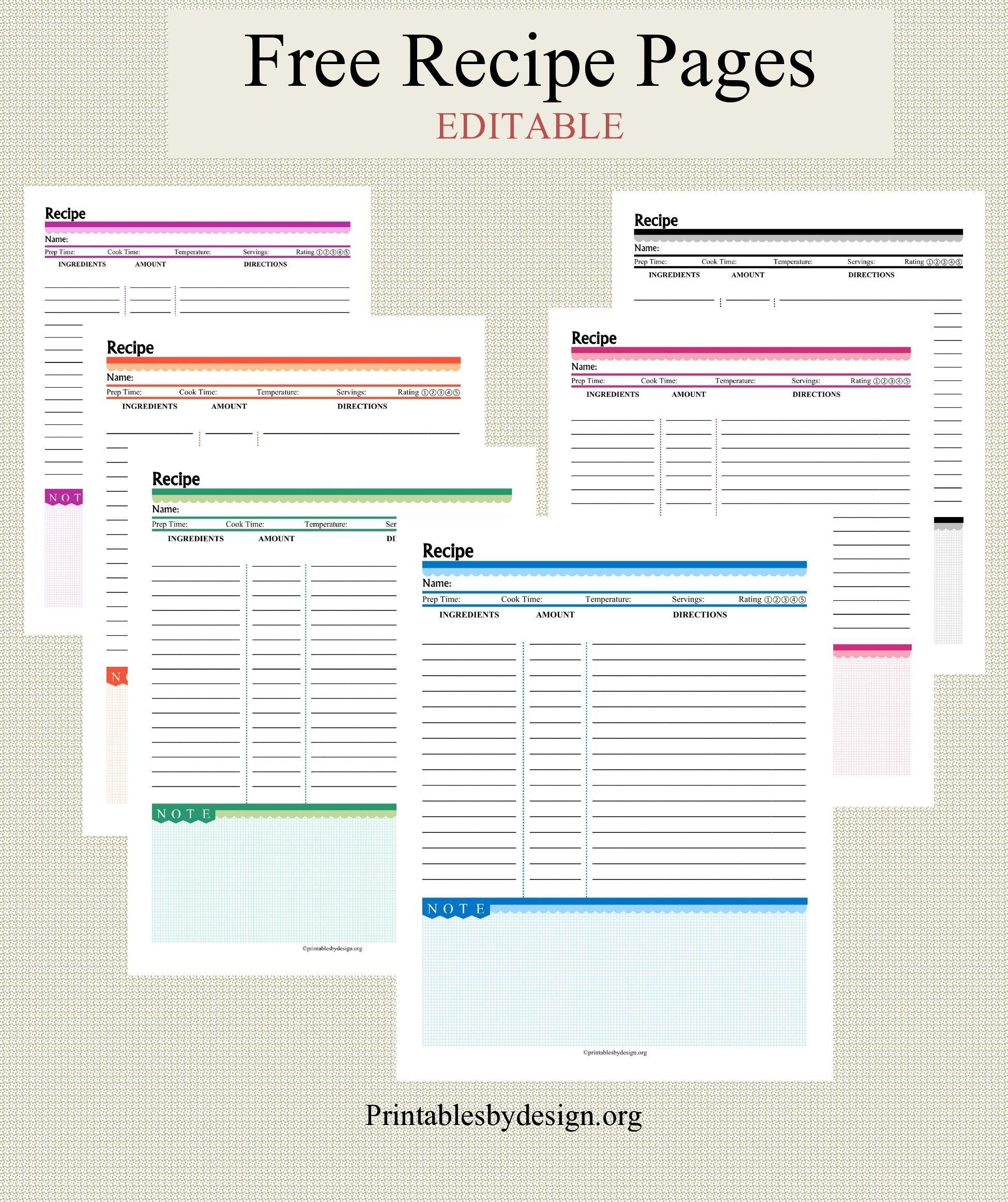 012 Free Recipe Book Template ~ Ulyssesroom | Fine. Food | Recipe - Free Printable Recipe Page Template