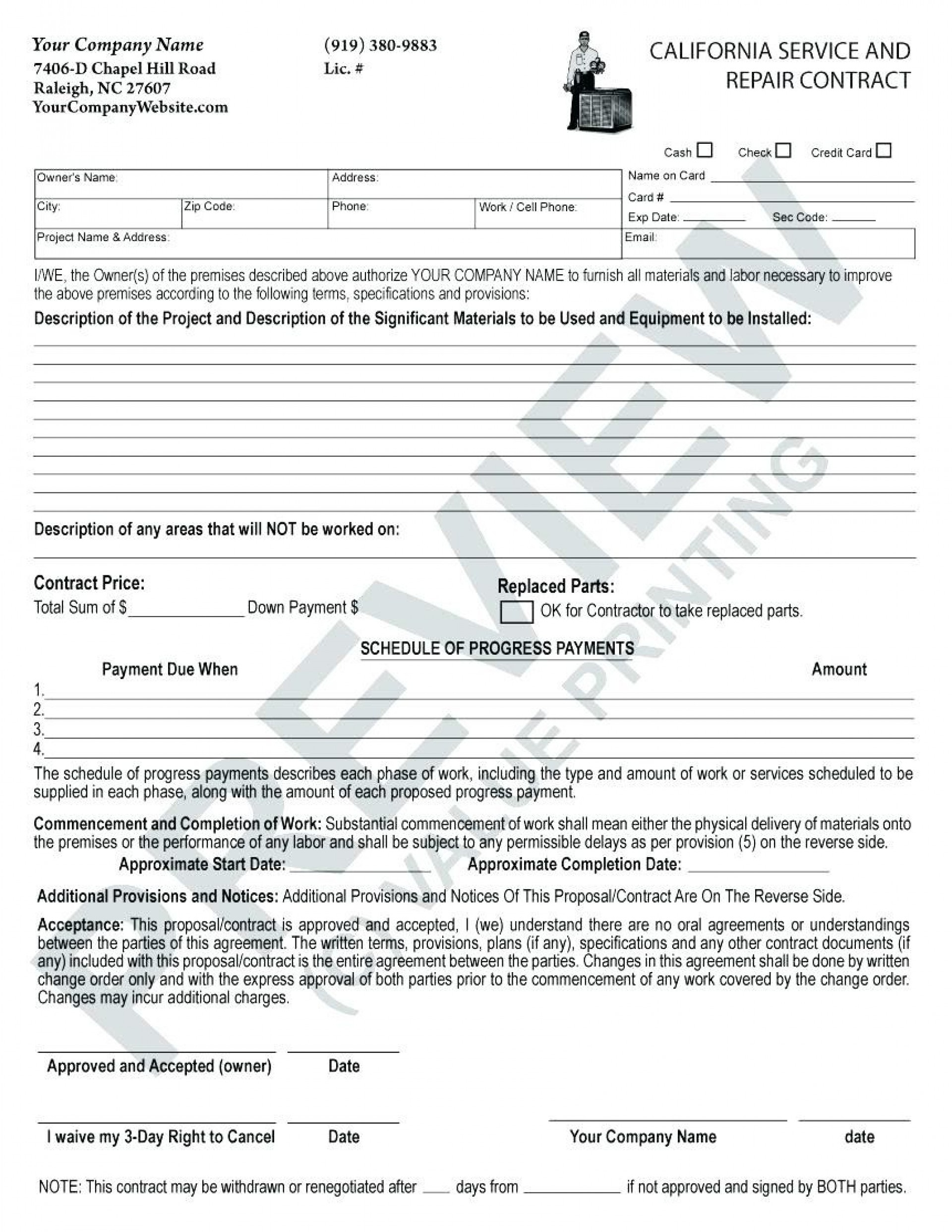 020 Hvac Service Contractate Maintenance Agreement Forms Free - Free Printable Documents
